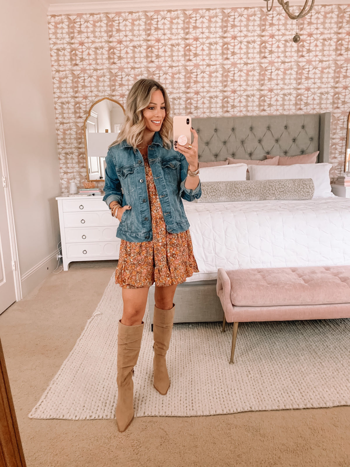 Dressing Room Finds Target, Denim Jacket, Floral Dress, Knee High Boots