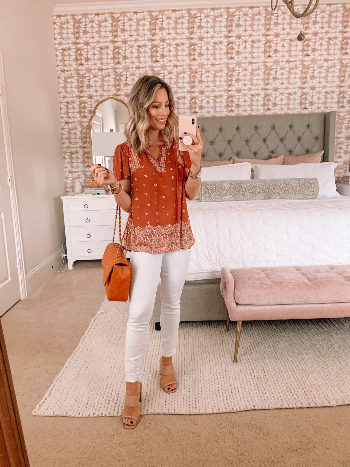 Dressing Room Finds Target, Boho Top, Jeans, Sandals, Crossbody