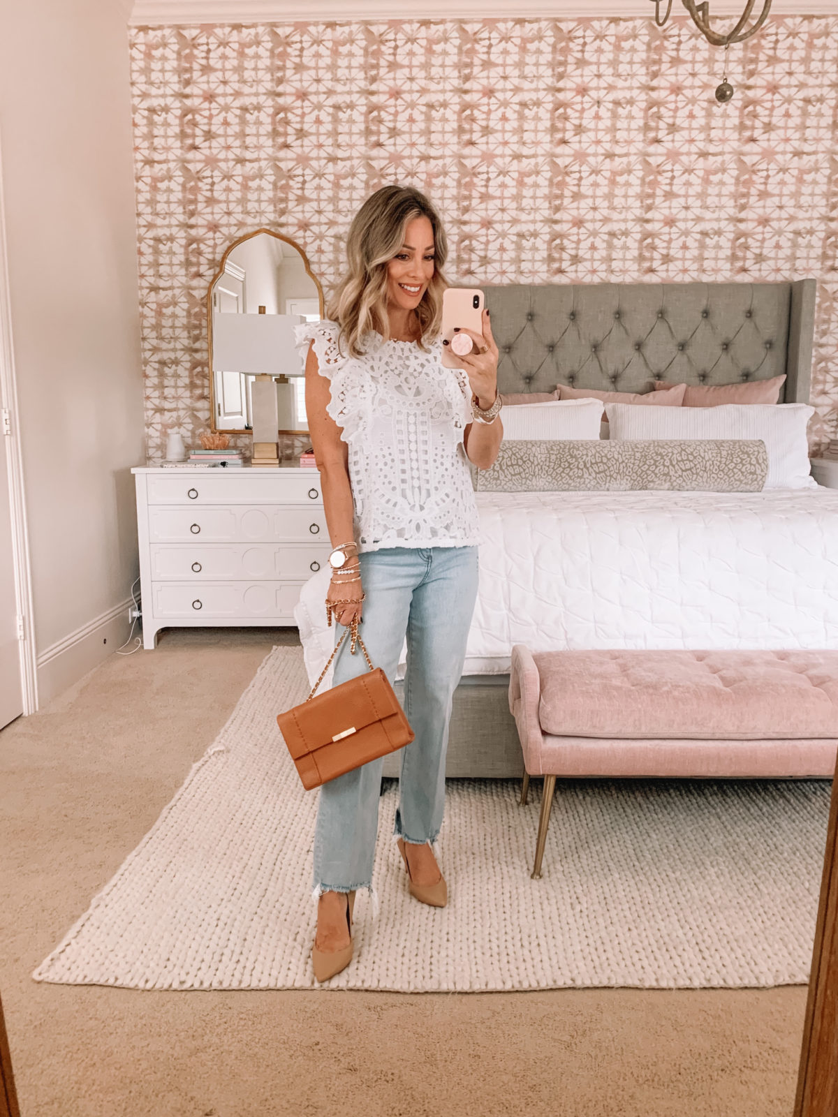 Dressing Room Finds Express, Lace Top, Jeans, Heels, Crossbody