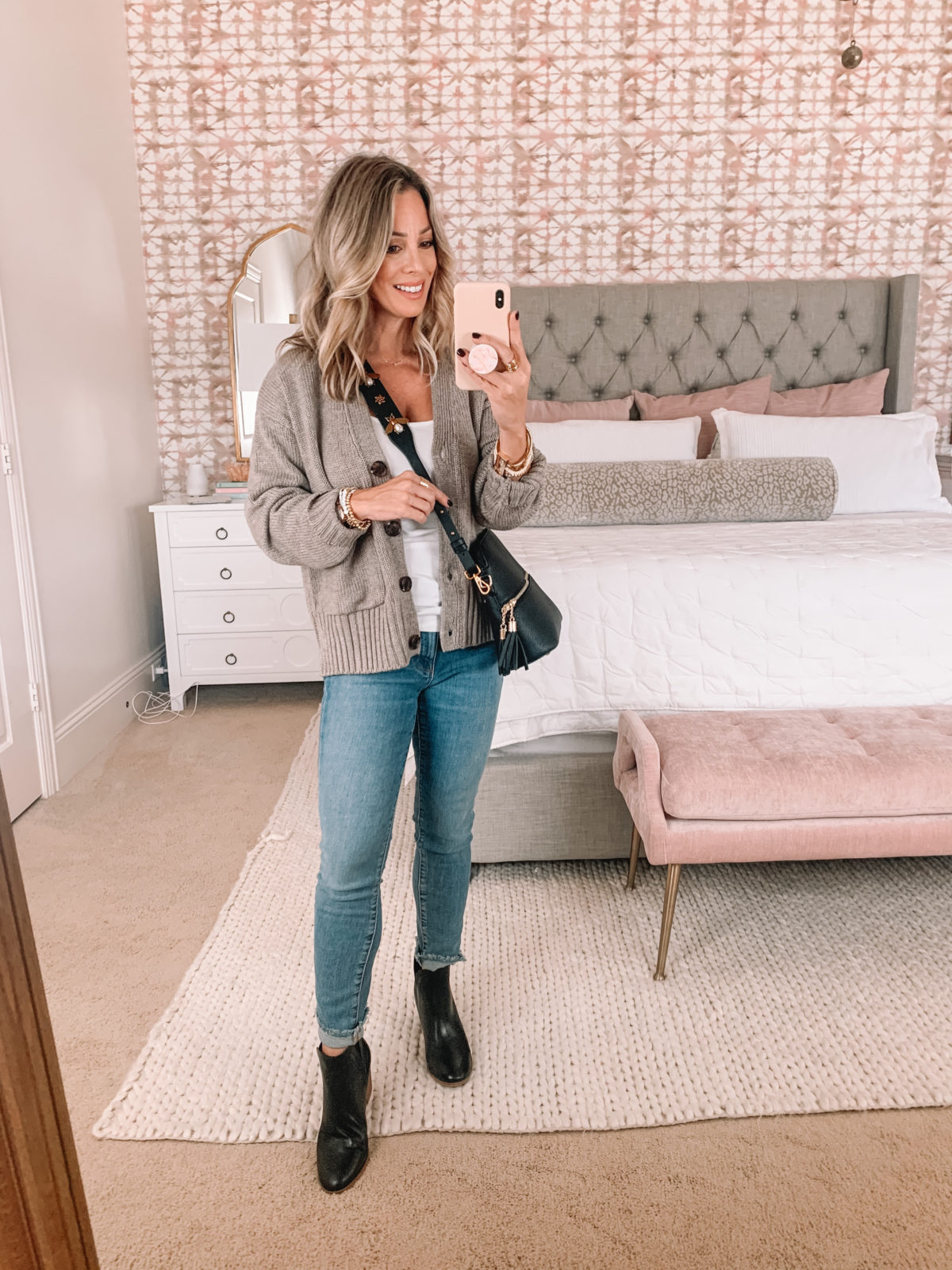 Amazon Fashion Faves, Button Down Cardigan, Cami, Booties