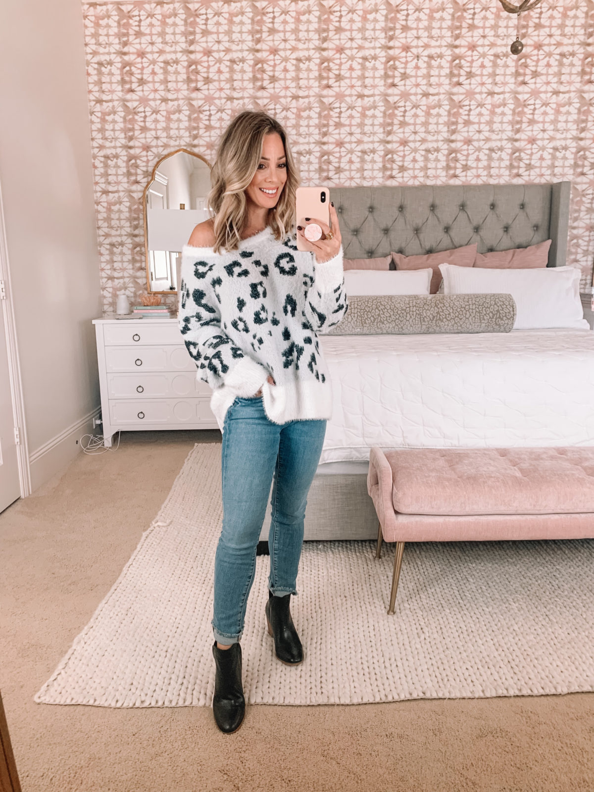 Amazon Fashion Faves, White Leopard Sweater