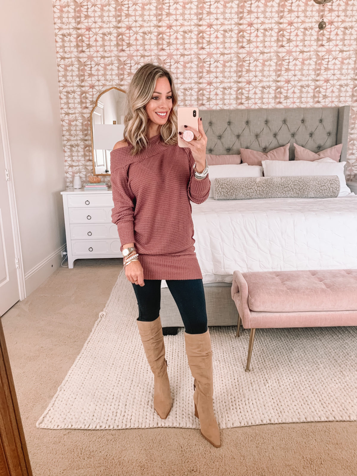 Amazon Fashion Faves, Waffle Knit Tunic, Ponte Leggings, Knee High Boots