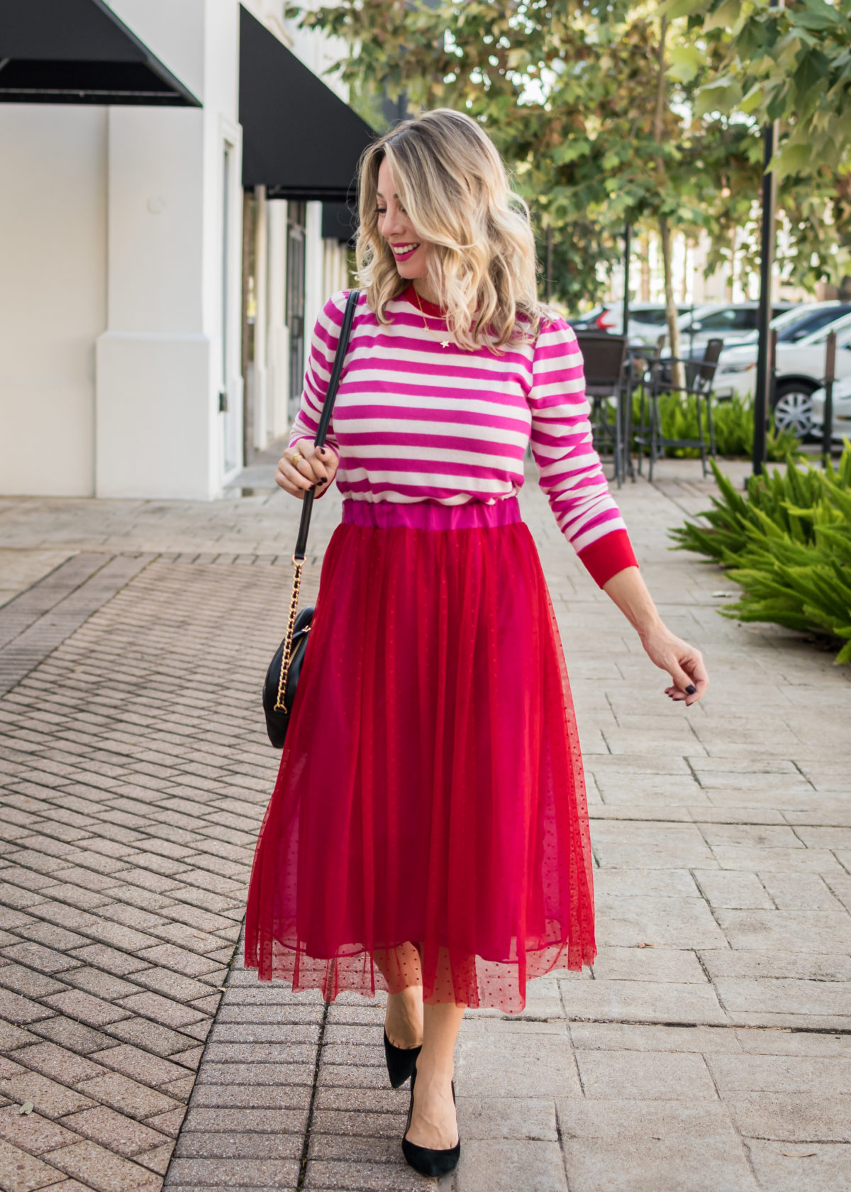 Gibson Fashion, Striped Sweater, Tulle Skirt, Black Heels, Crossbody Bag