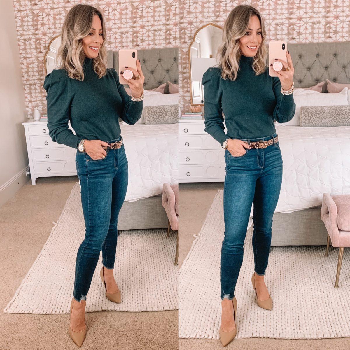 Walmart Fashion, Puff Sleeve Mock Turtleneck Top, Jeans, Heels, SnakeSkin Belt