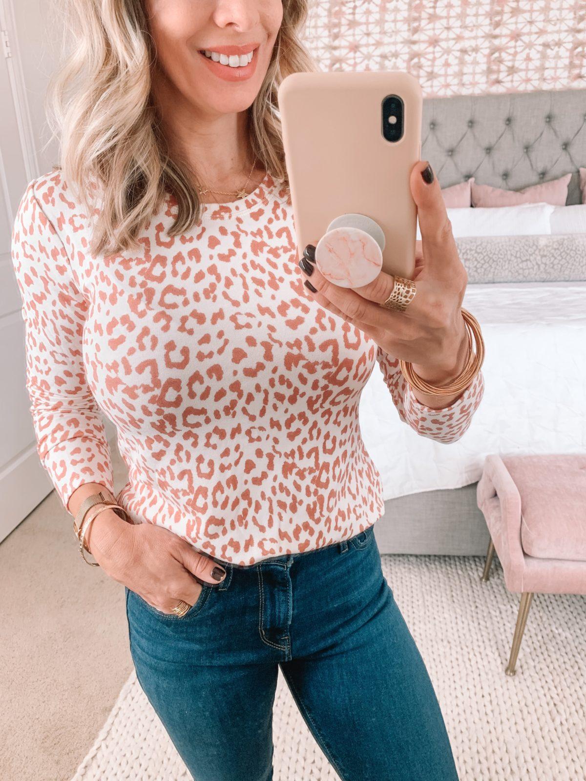 Amazon Fashion Faves, Cheetah Print Top, Jeans