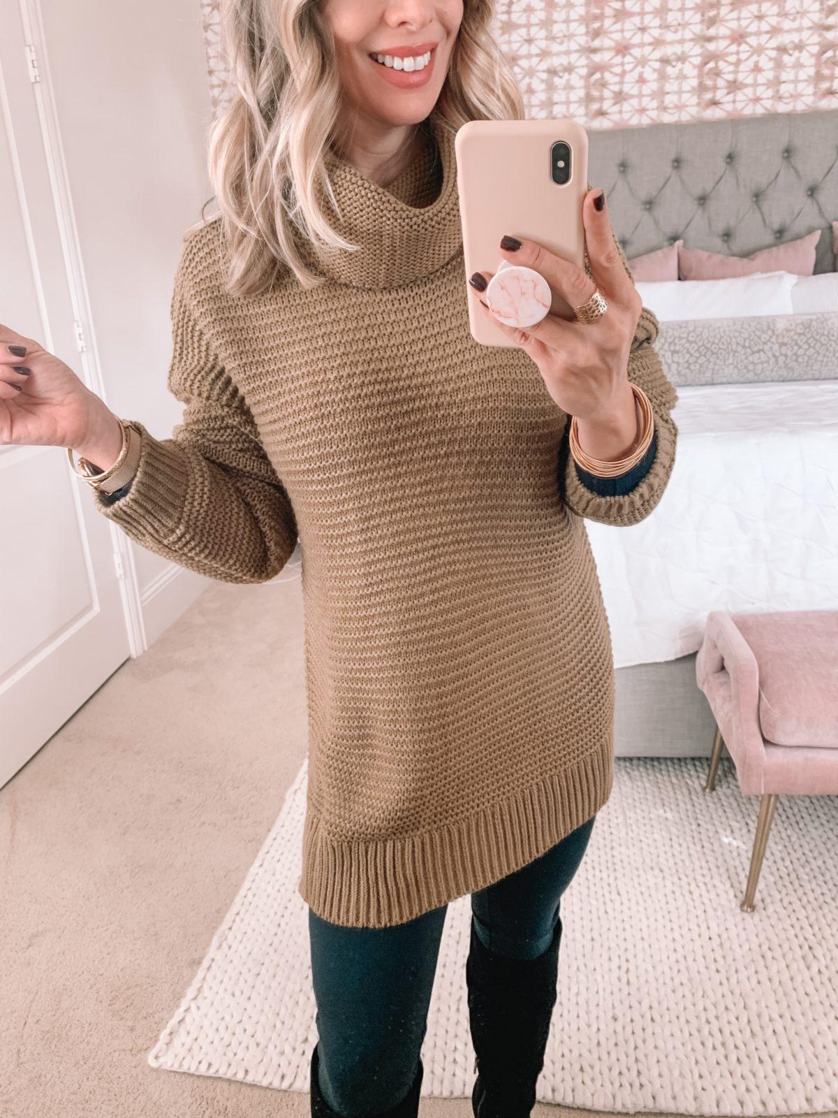 Amazon Fashion Faves, Turtleneck Sweater, Ponte Leggings, Knee High Boots