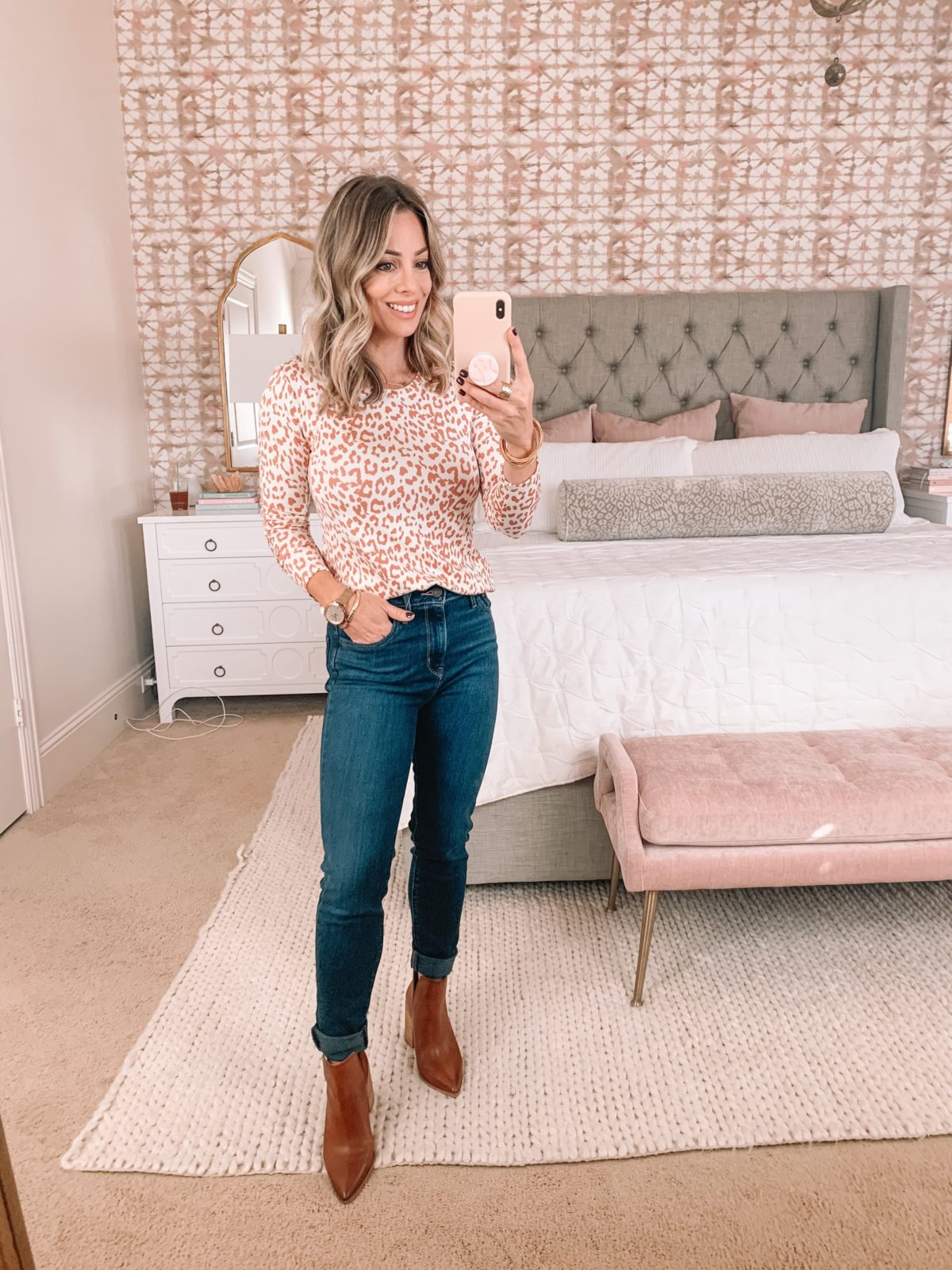 Amazon Fashion Faves, Orange Leopard Print Top, Skinny Jeans, Booties