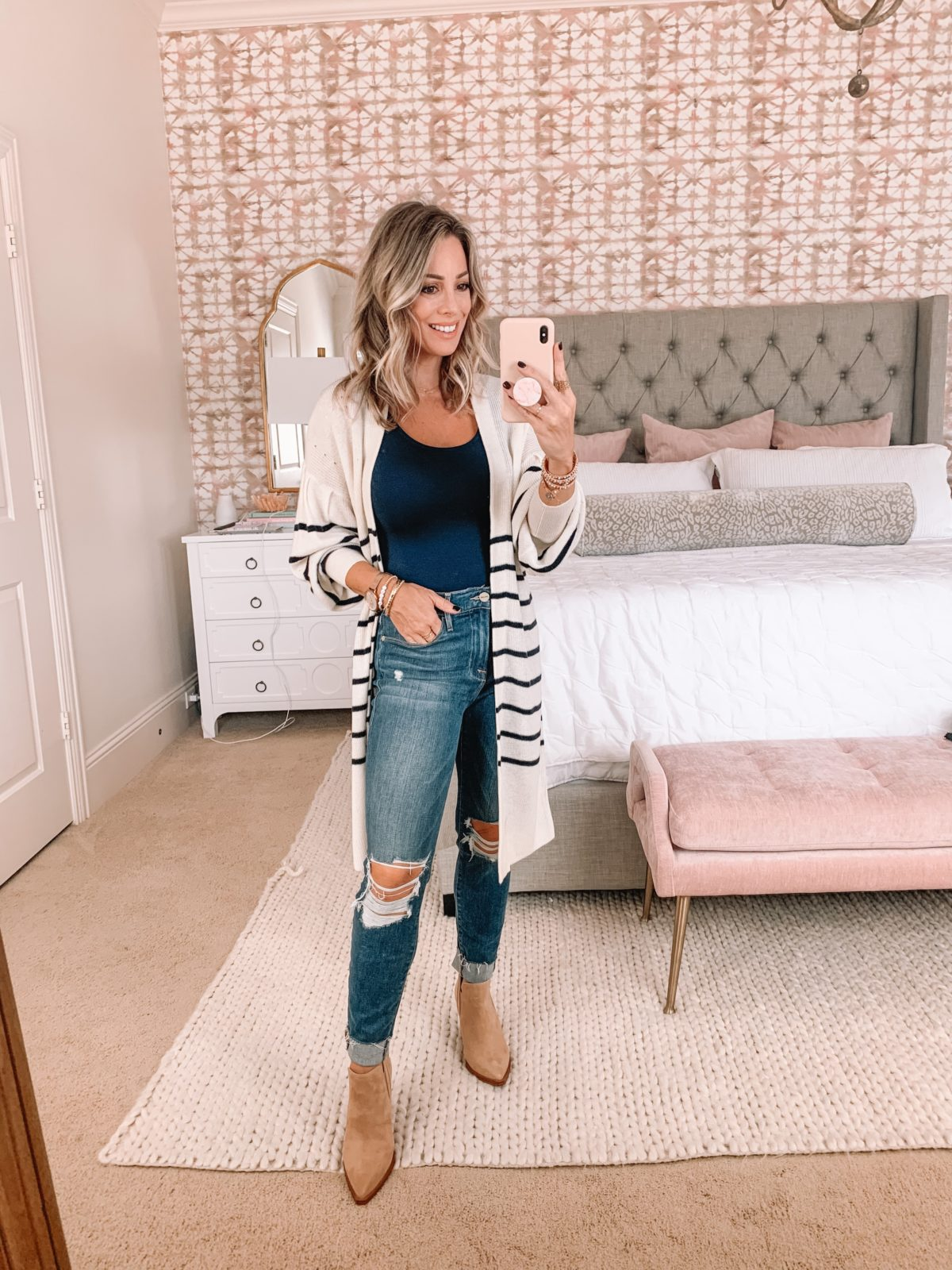 Dressing Room Finds, Express, Cardigan, Bodysuit, Distressed Jeans, Booties
