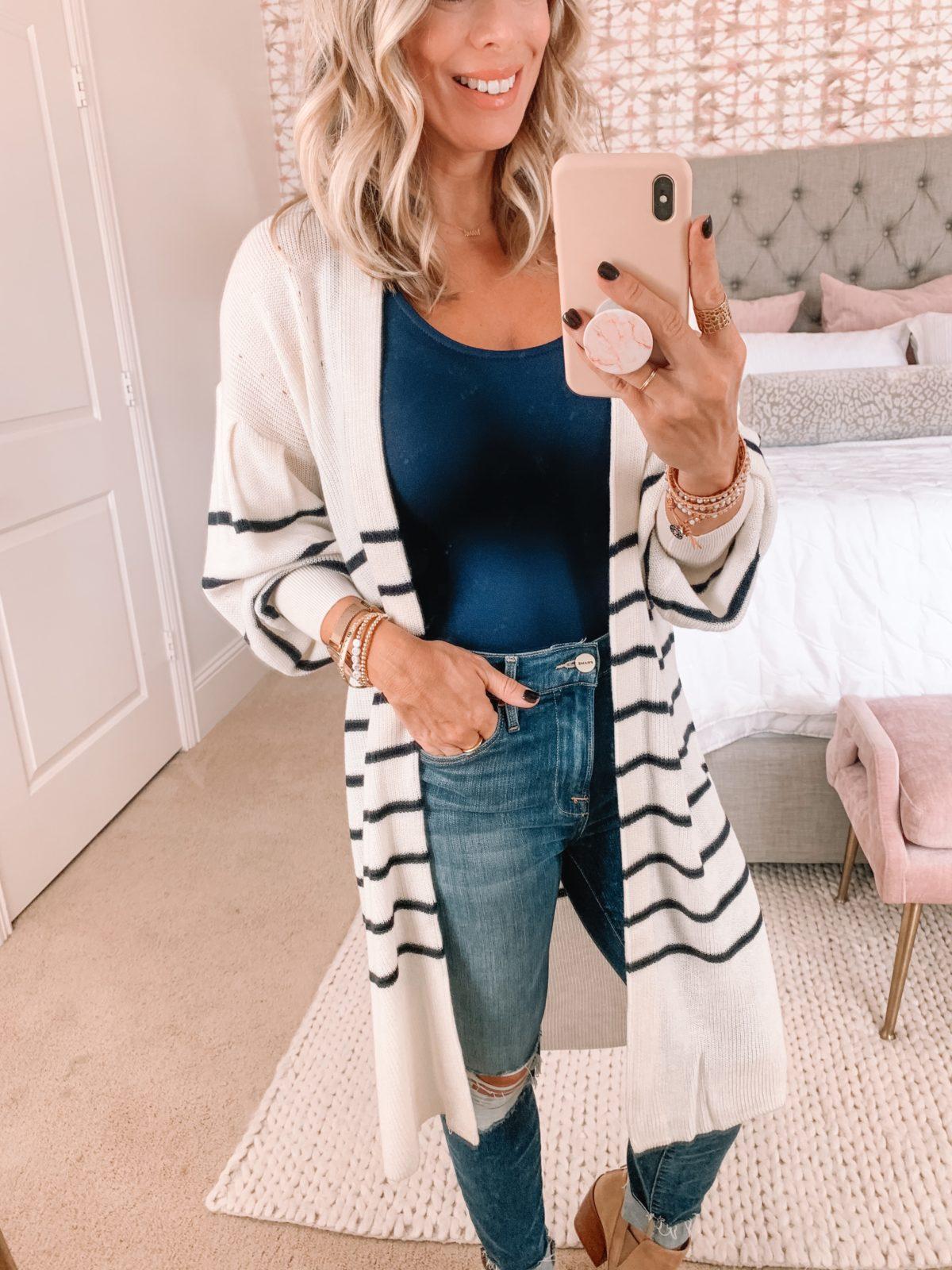 Dressing Room Finds, Express, Bodysuit, Cardigan, Distressed Jeans