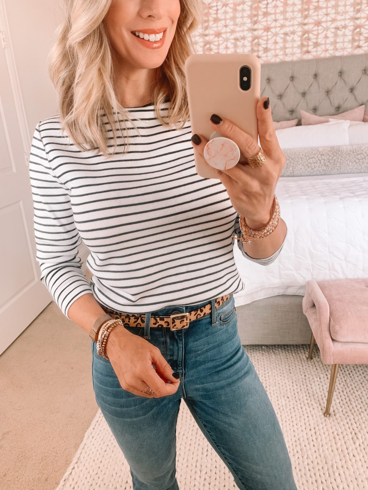 Walmart Fashion Finds, Striped Top, Leopard Belt, Jeans, Booties