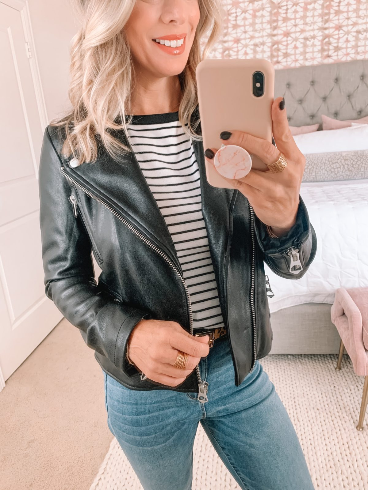 Walmart Fashion Finds, Faux Leather Jacket, Striped Top, Jeans, Leopard Belt