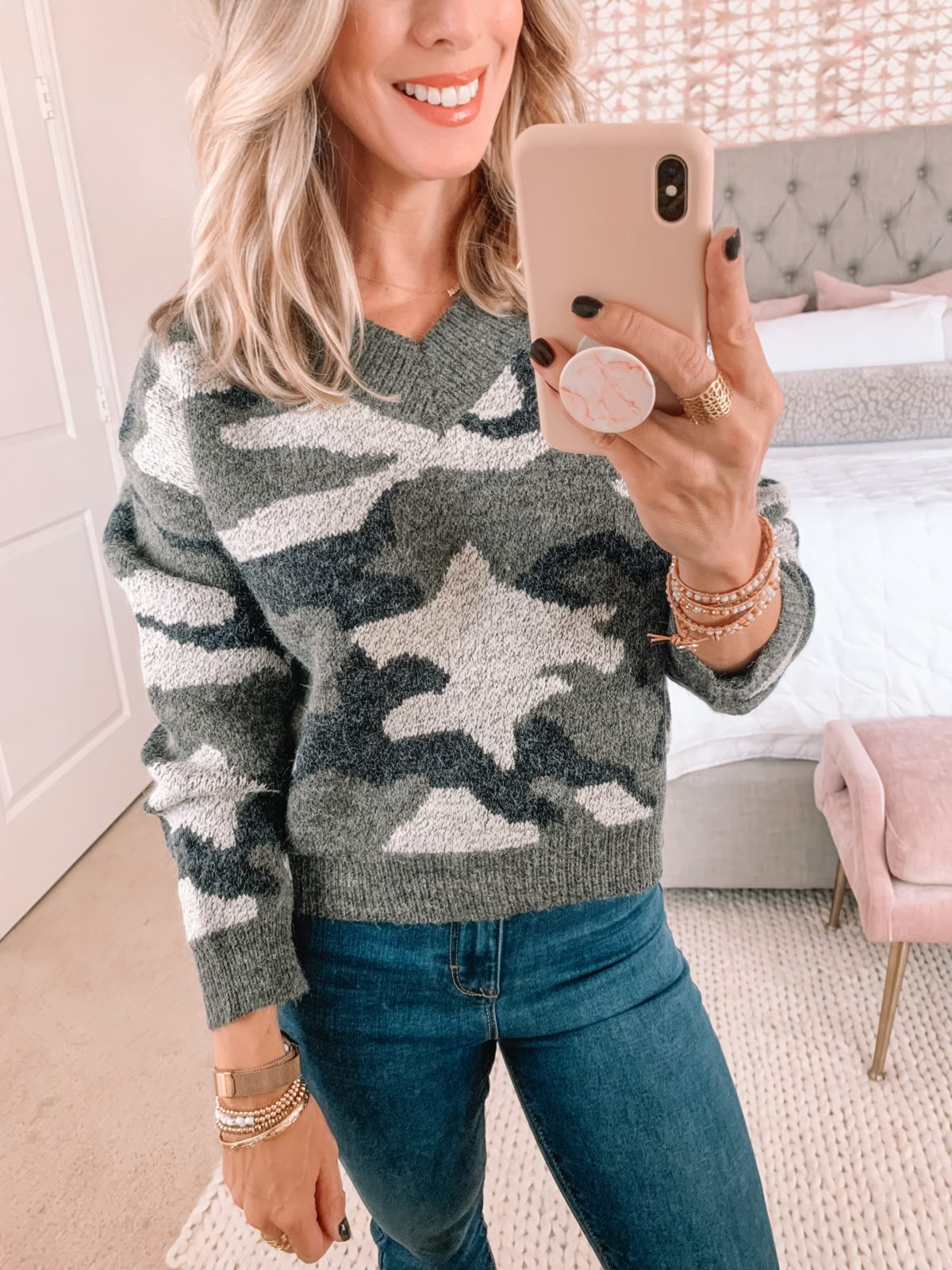 Walmart Fashion Finds, Cropped Camo Sweater, Jeggings, Booties