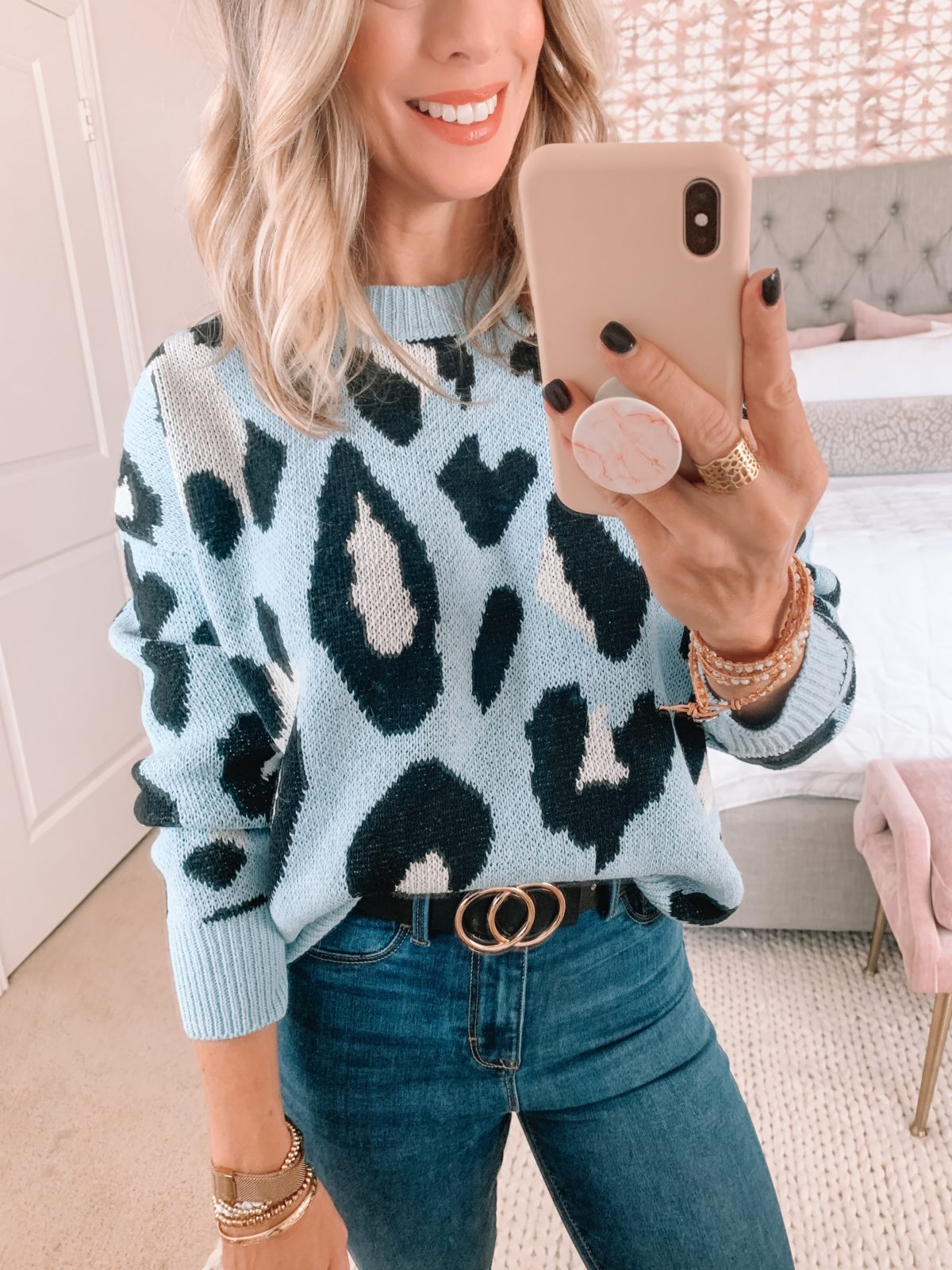 Walmart Fashion Finds, Blue Leopard Sweater, Jeggings, Circle Belt
