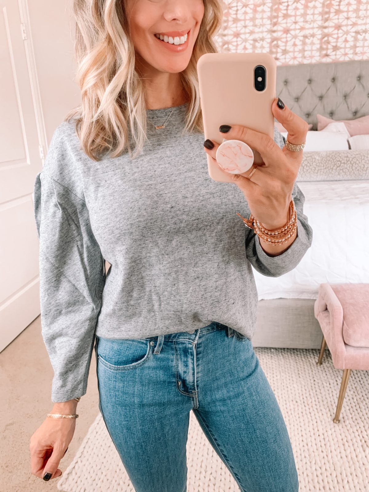 Amazon Fashion Faves, Gray Pullover, Jeans