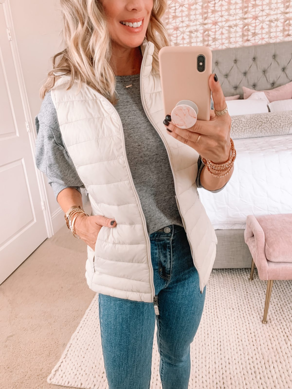Amazon Fashion Faves, Grey Top, Puffer Vest, Jeans