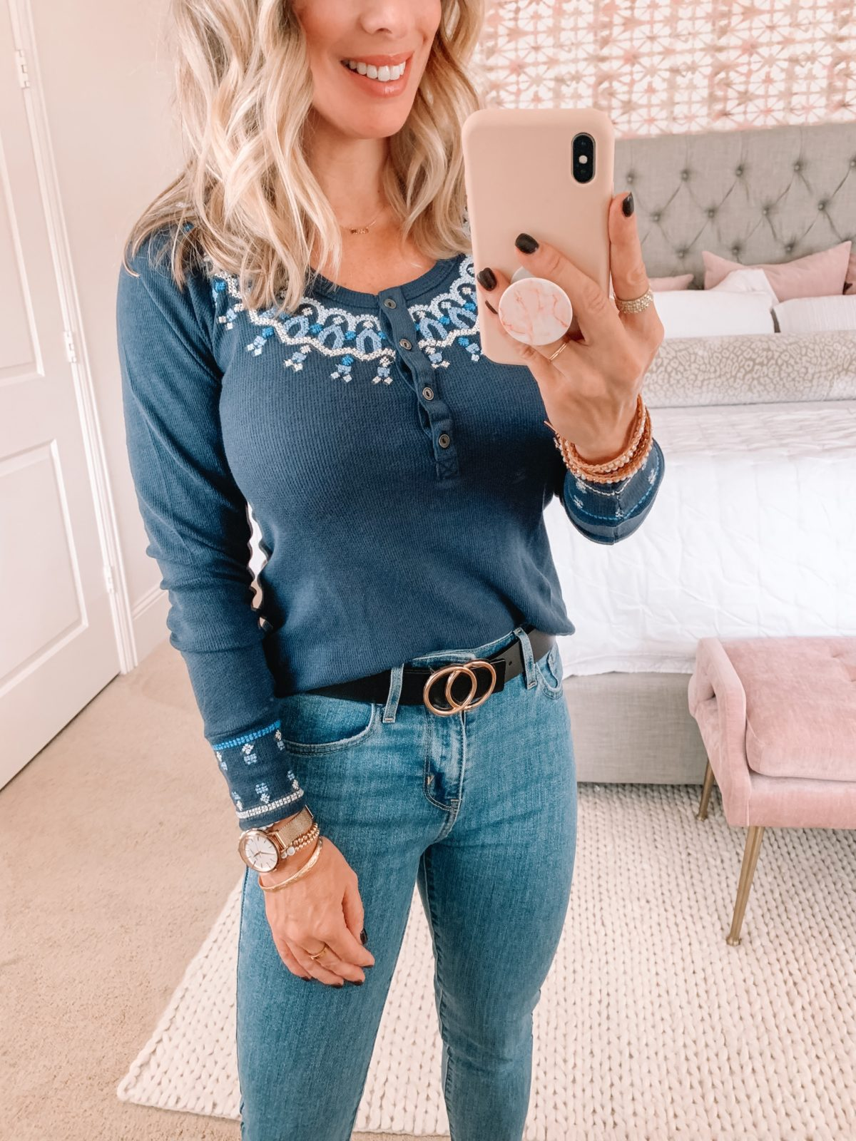 Amazon Fashion Faves, Long Sleeve Tee, Circle Belt, Jeans