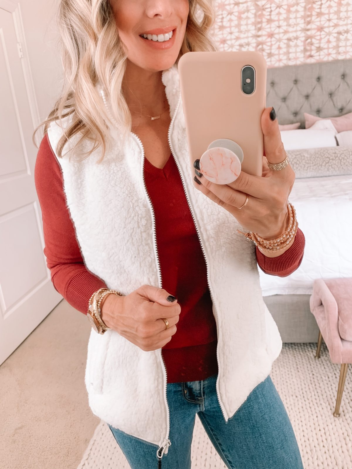 Amazon Fashion Faves, Fleece Vest, Red Long Sleeve Top, Jeans