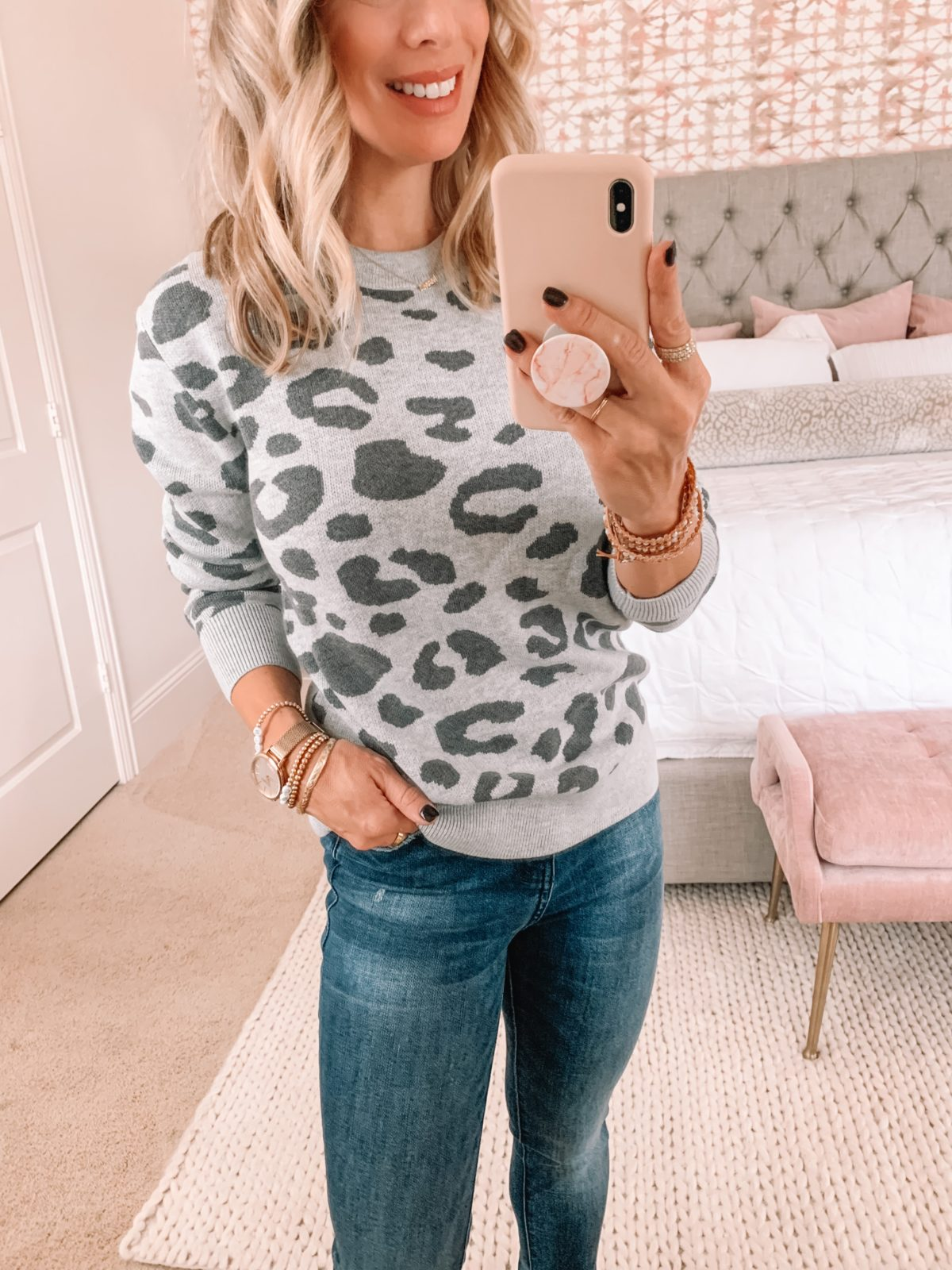 Amazon Fashion Faves, Grey Leopard Sweatshirt, Jeans, Booties