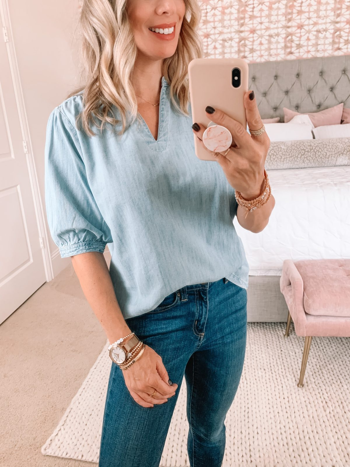 Amazon Fashion Faves, Chambray Top, Jeans
