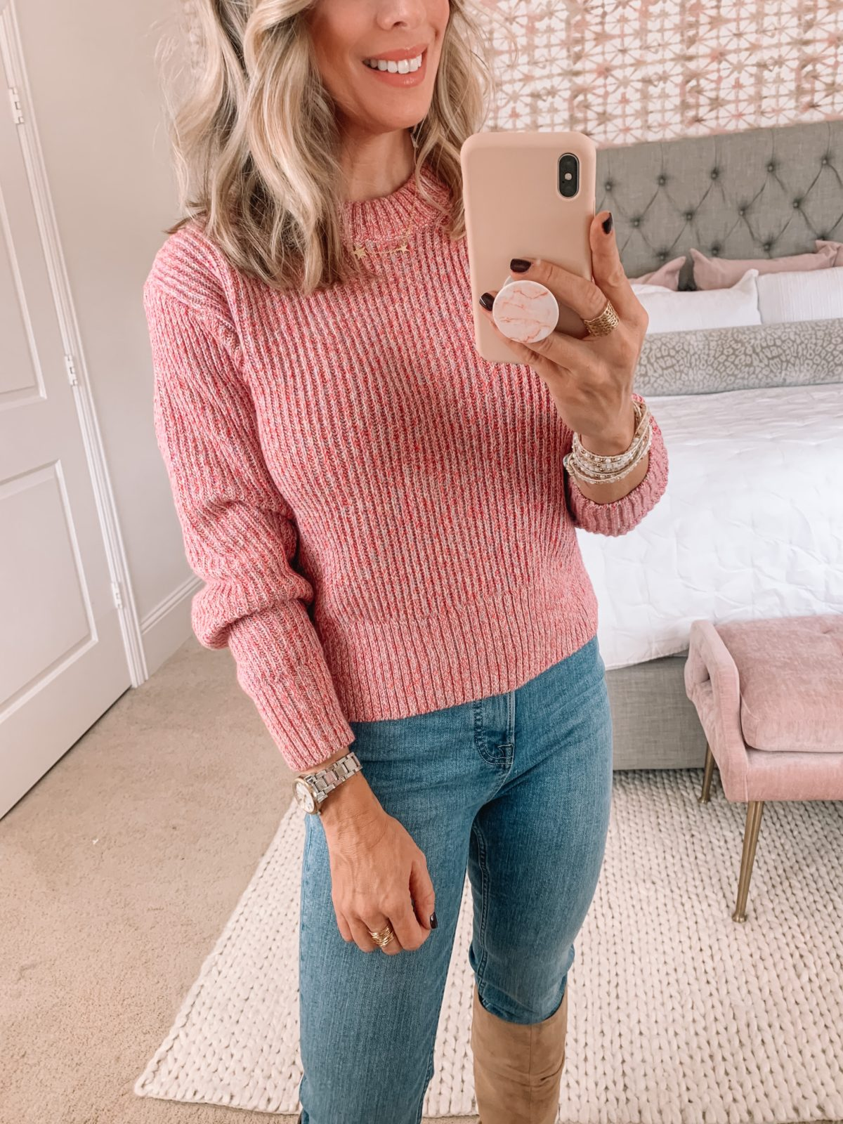Walmart Fashion, Pink Marled Sweater, Jeans, Boots