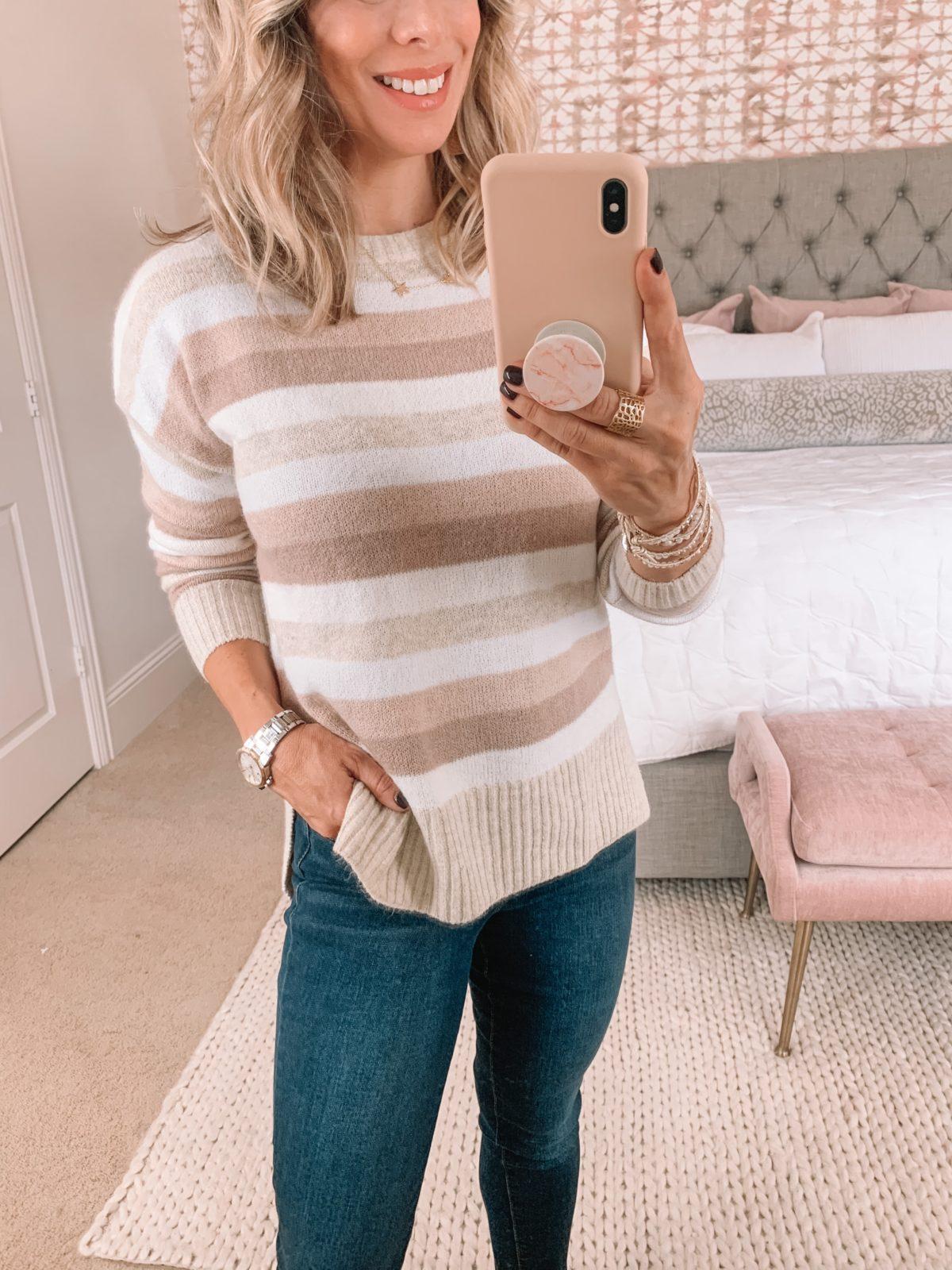 Walmart Fashion, Striped Sweater, Jeans