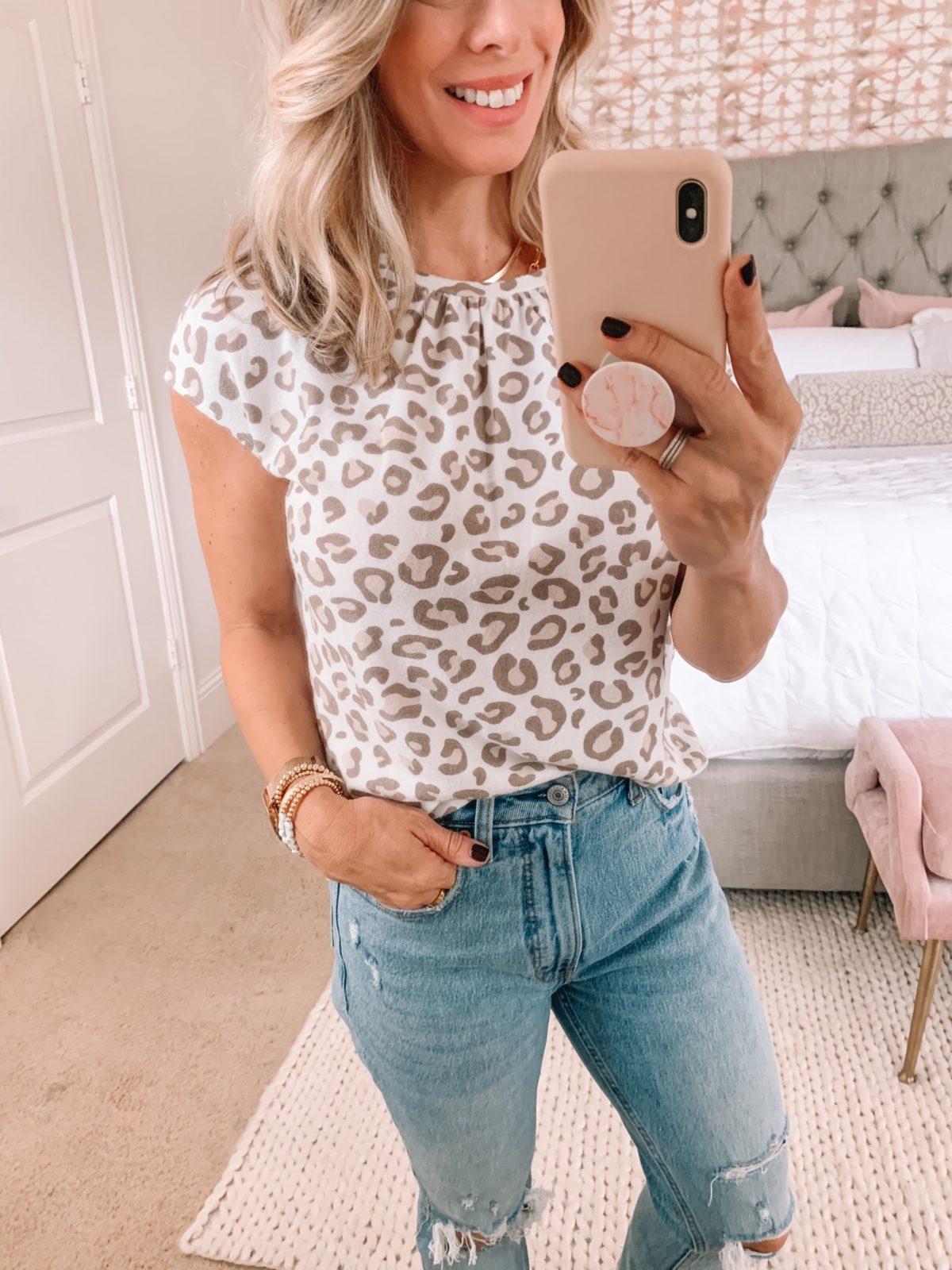 Dressing Room Finds Nordstrom, Gibson, Leopard Top Short Sleeve, Jeans
