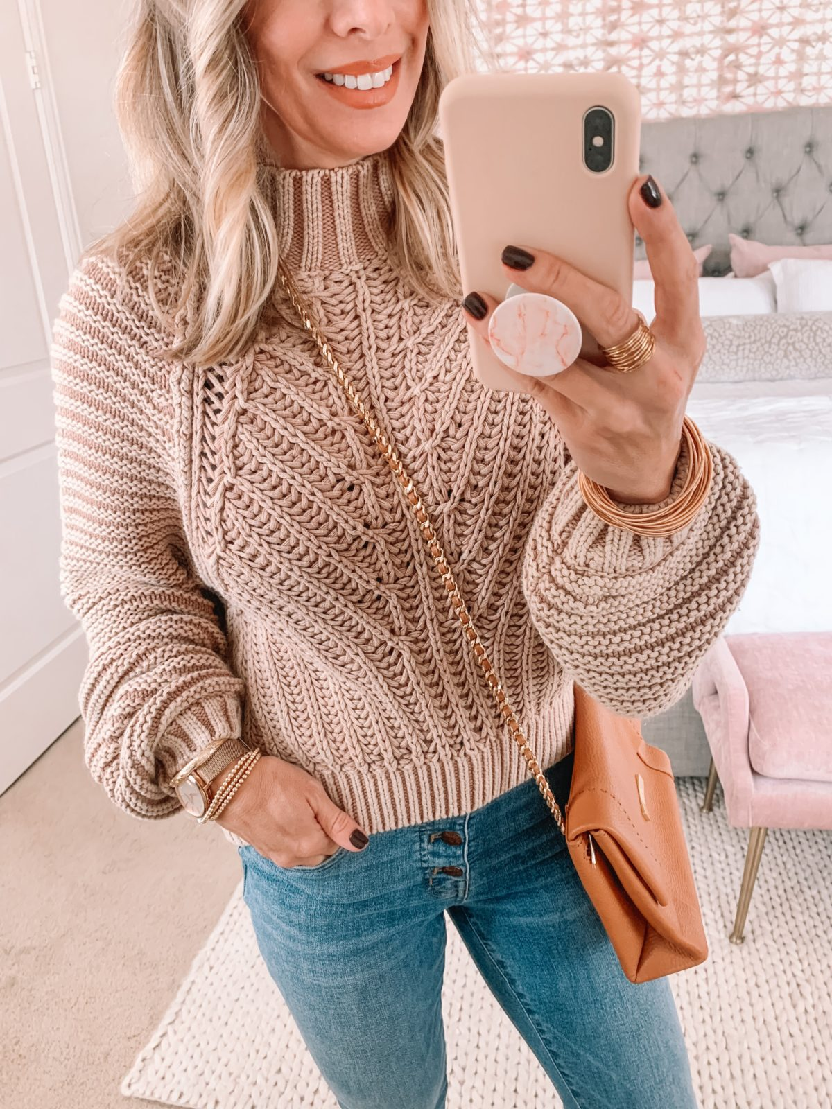 Dressing Room Finds Nordstrom, Chunky Knit Sweater, Button Fly Jeans, Booties, Crossbody
