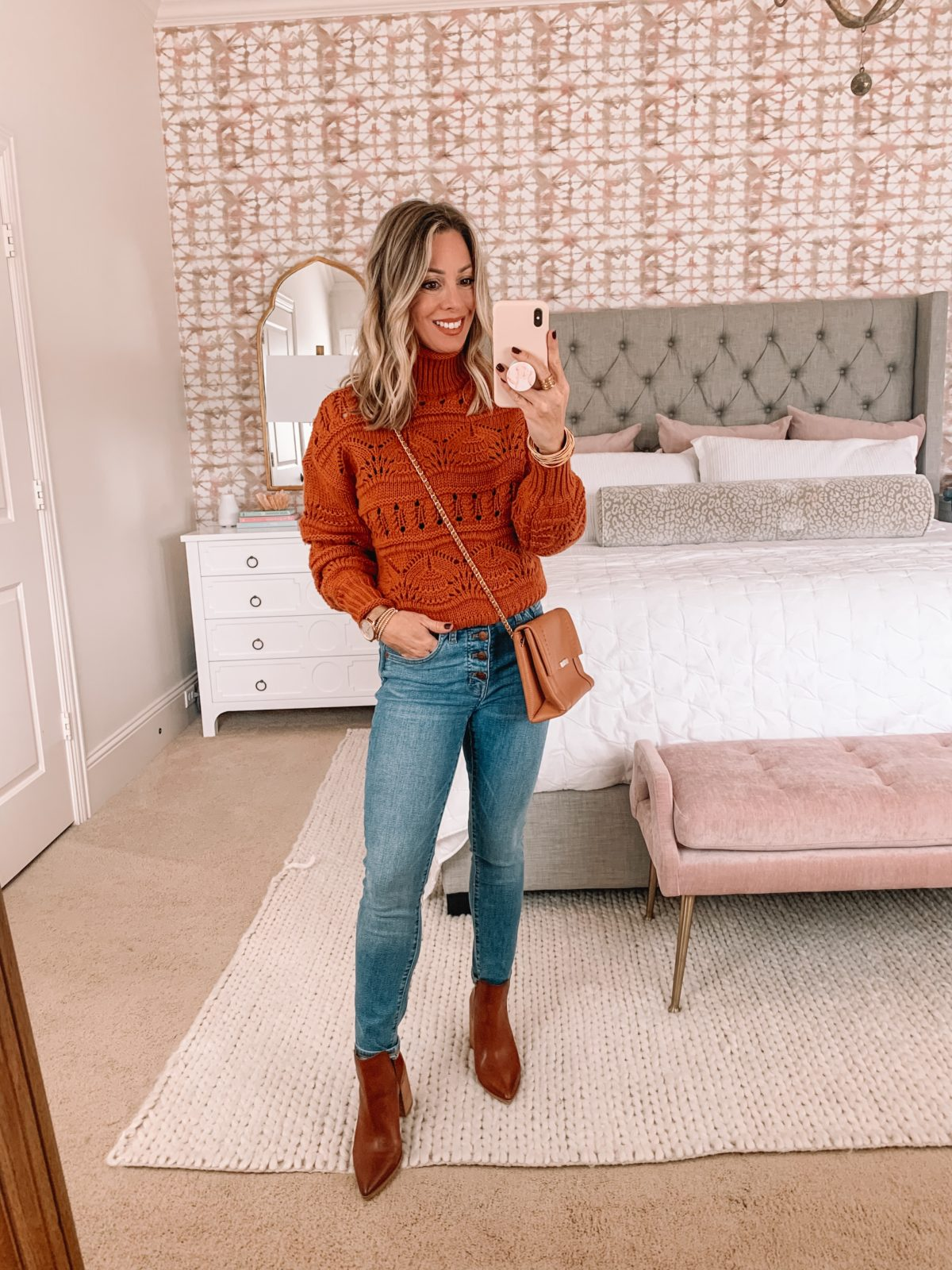 Dressing Room Finds Nordstrom, Chunky Knit Sweater, Jeans, Booties, Crossbody