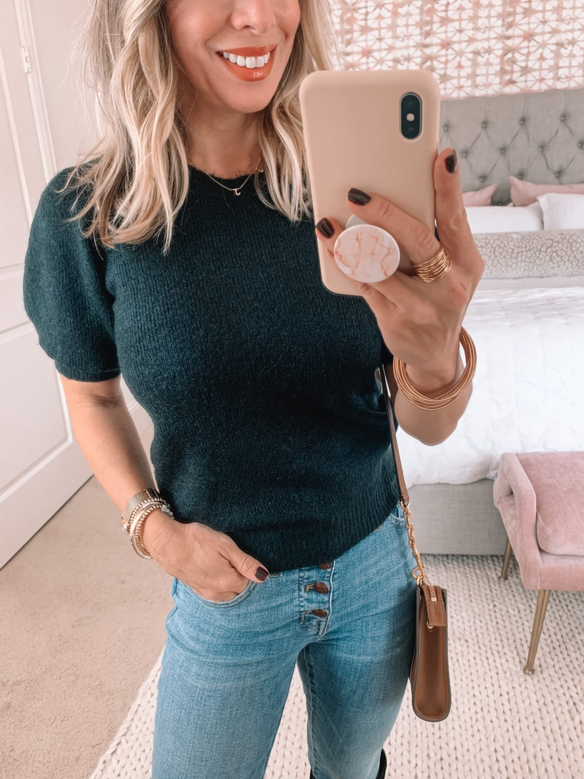Dressing Room Finds Nordstrom, Short Sleeve Sweater, Jeans, Boots, Crossbody