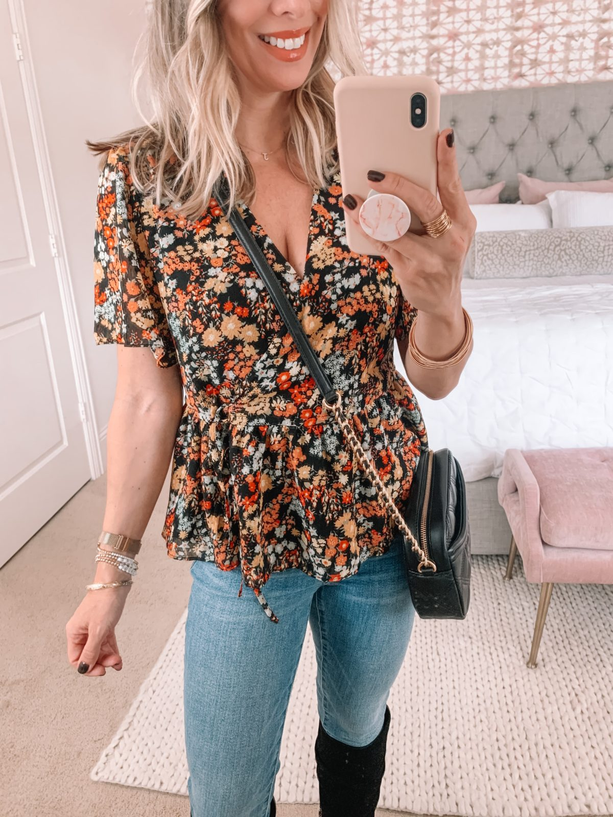 Dressing Room Finds Nordstrom, Floral Top, Jeans, Crossbody, Boots
