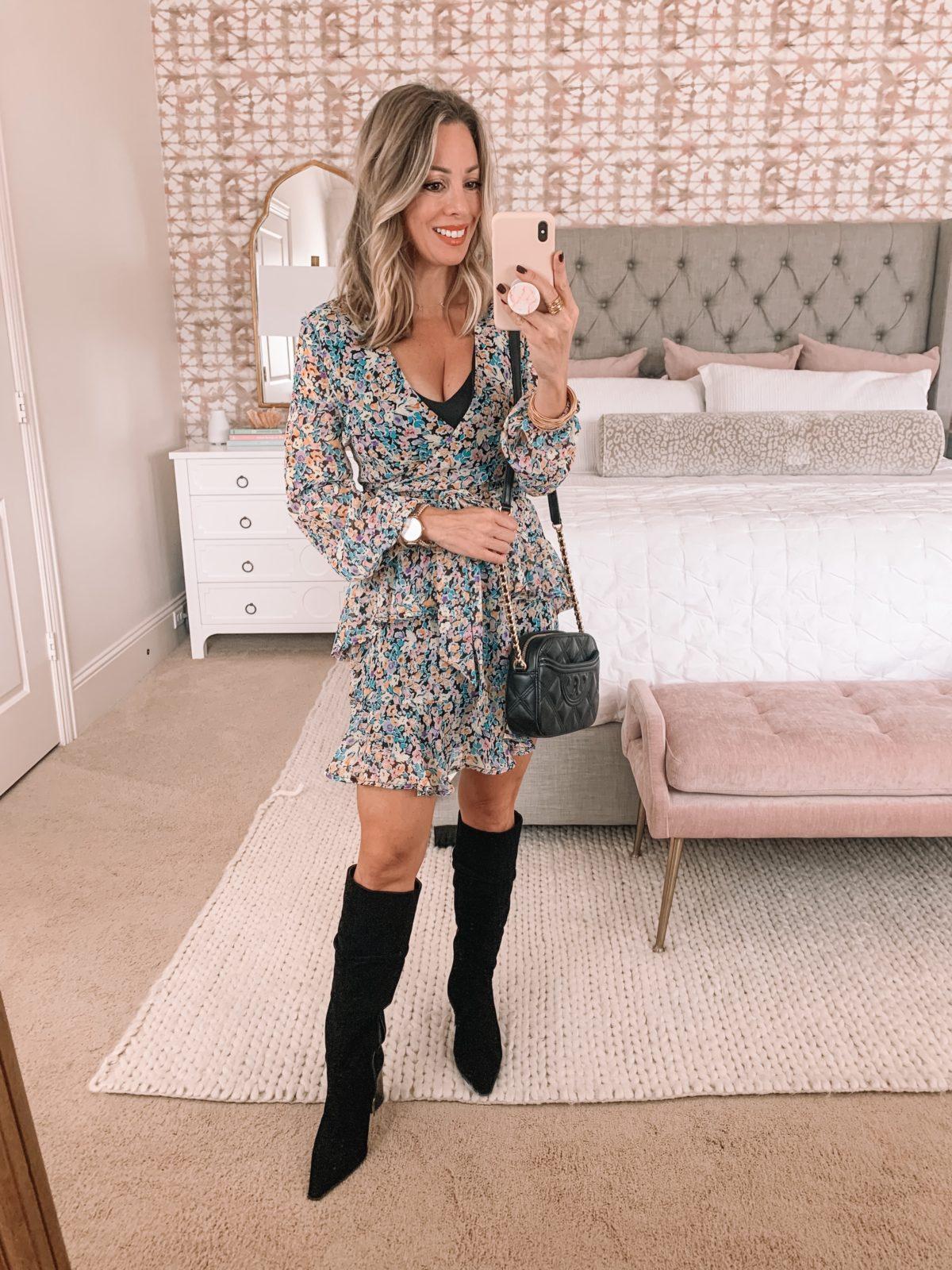 Dressing Room Finds Nordstrom, Floral Dress, Boots, Crossbody