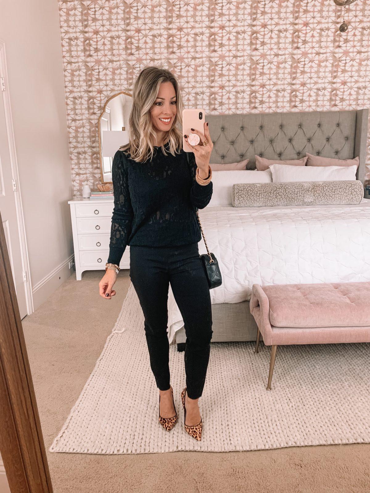 Dressing Room Finds Nordstrom, Sweater, Black Pants, Leopard Heels, Crossbody