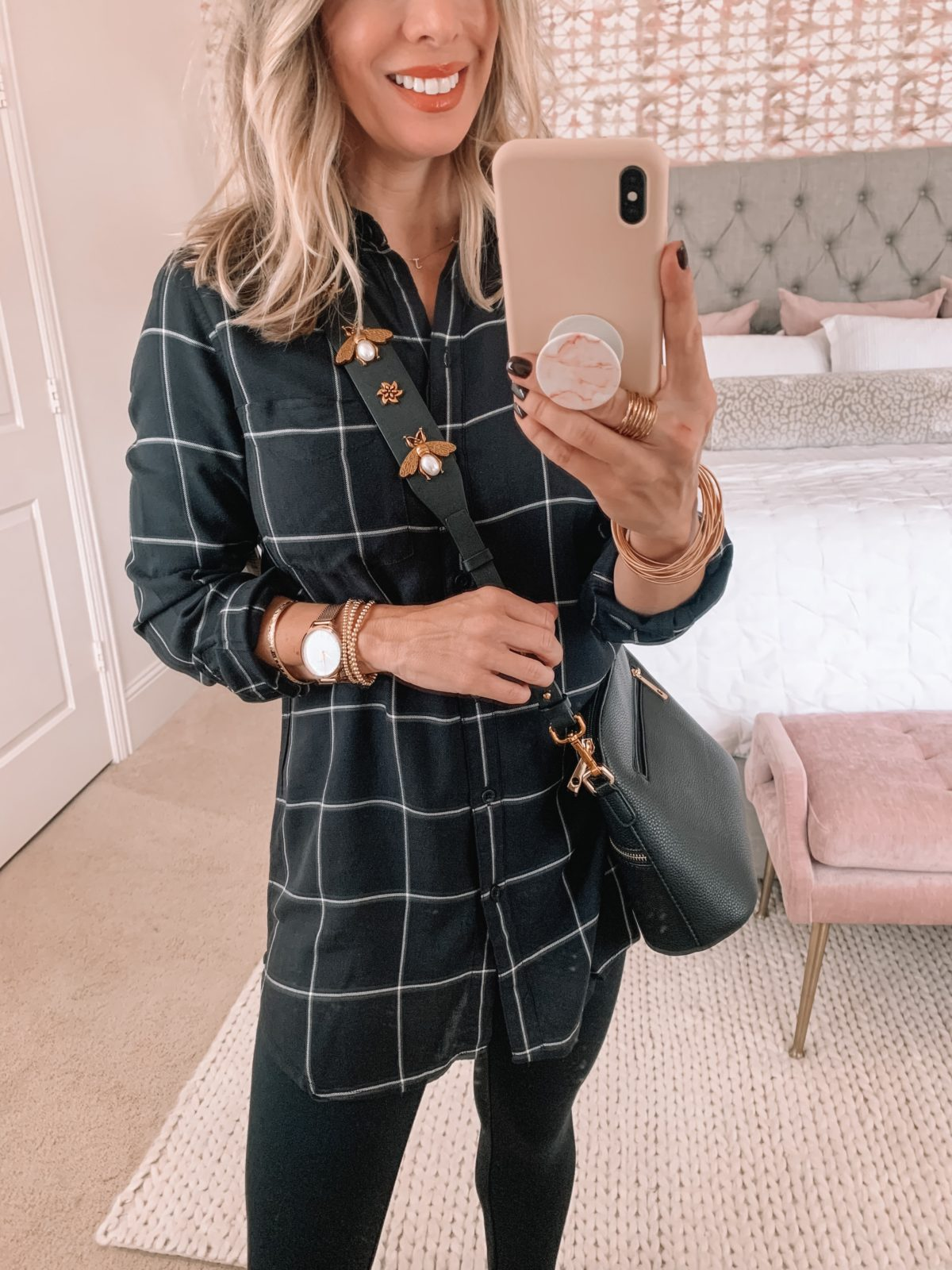 Amazon Fashion Finds, Button Down Top, Leggings, Booties, Crossbody