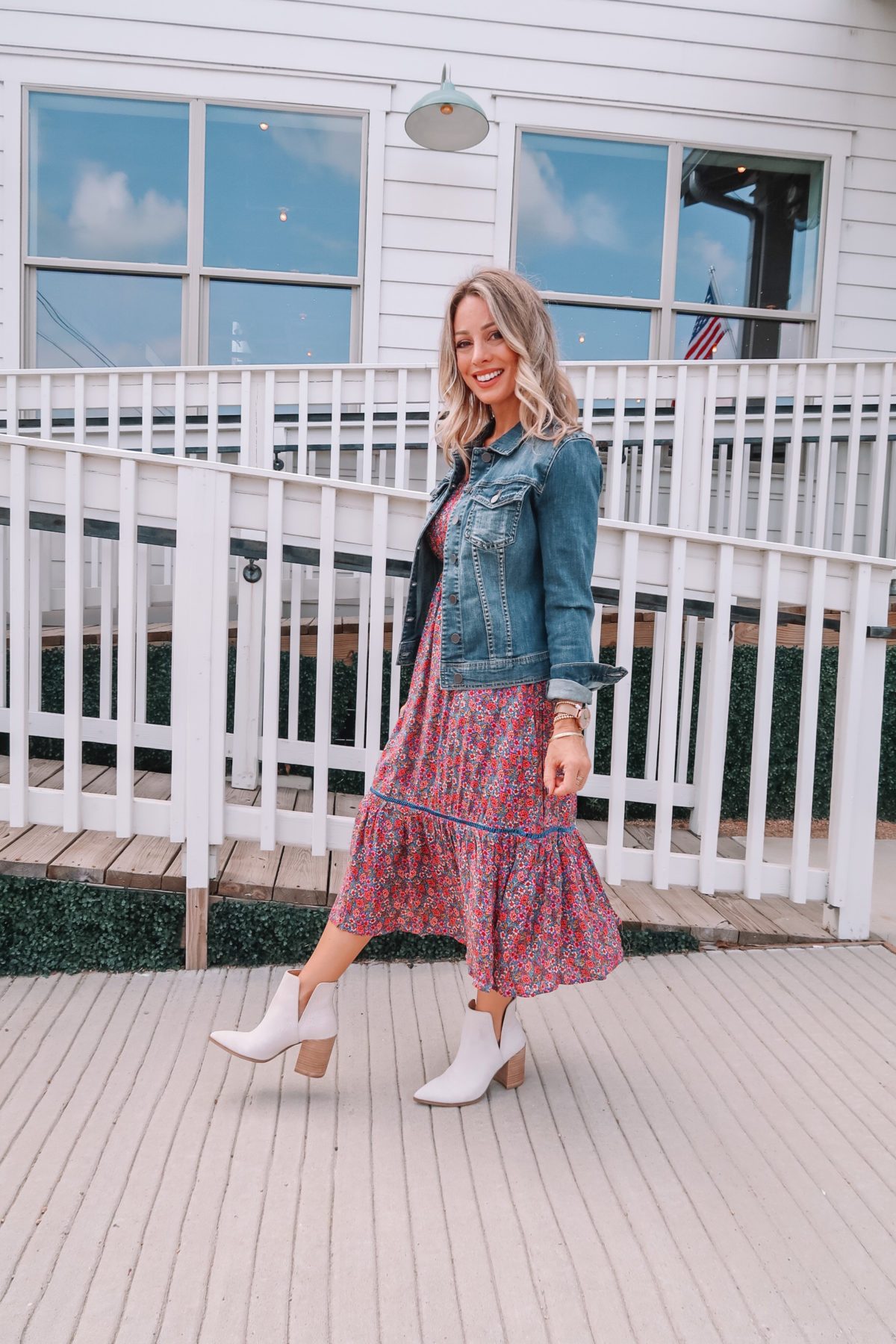Outfits Lately, Floral Smocked Top Dress, Booties, Denim Jacket, Crossbody Bag