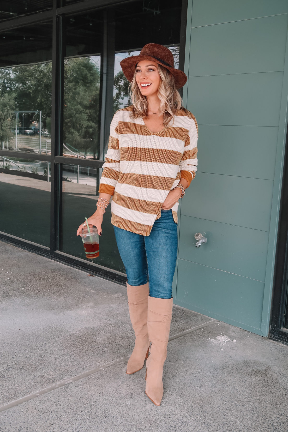 Outfits Lately, Striped Sweater, Jeans, Knee High Boots, Hat