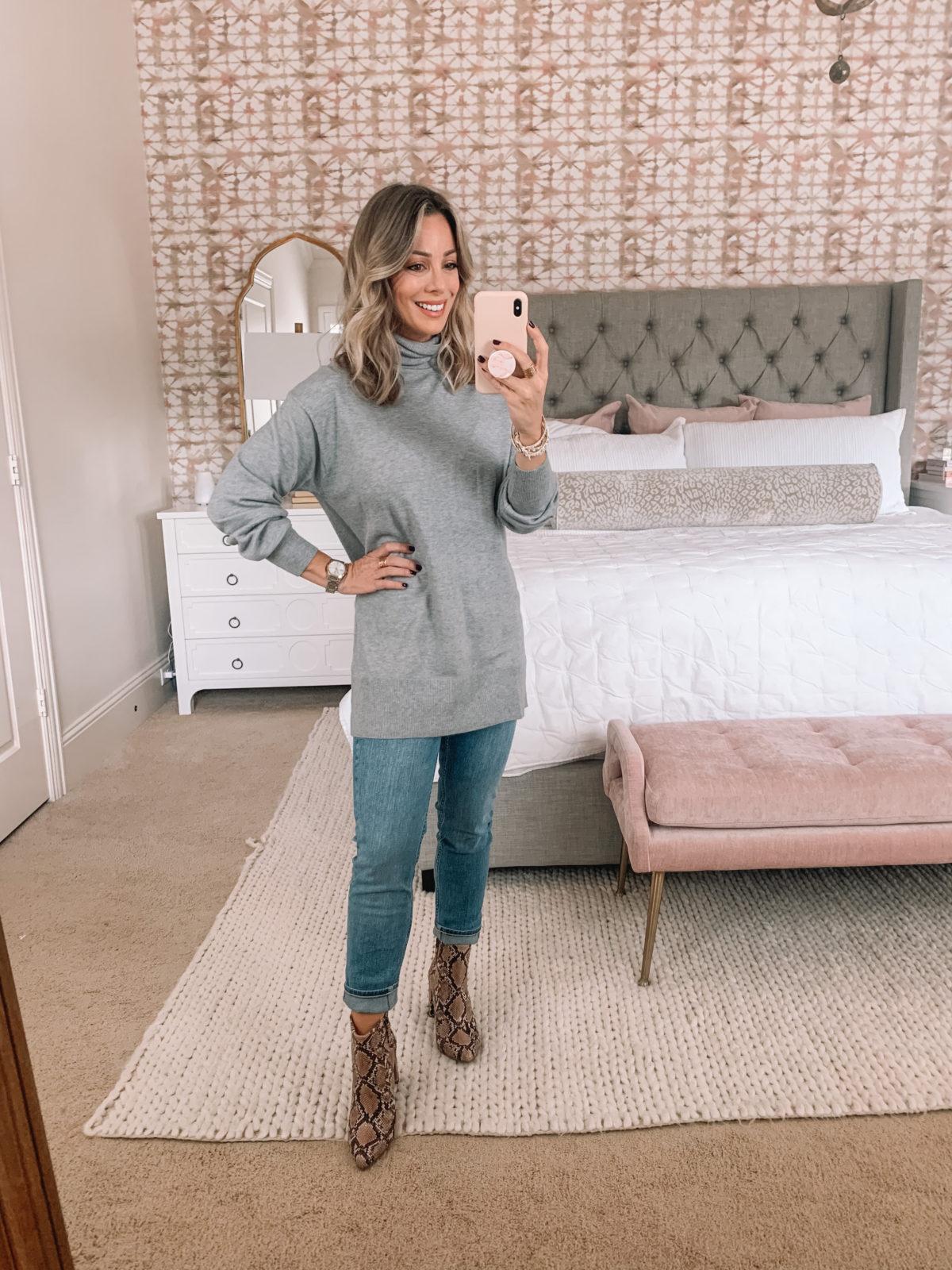 Walmart Fashion, Turtle neck Tunic, Jeans, Snakeskin Booties