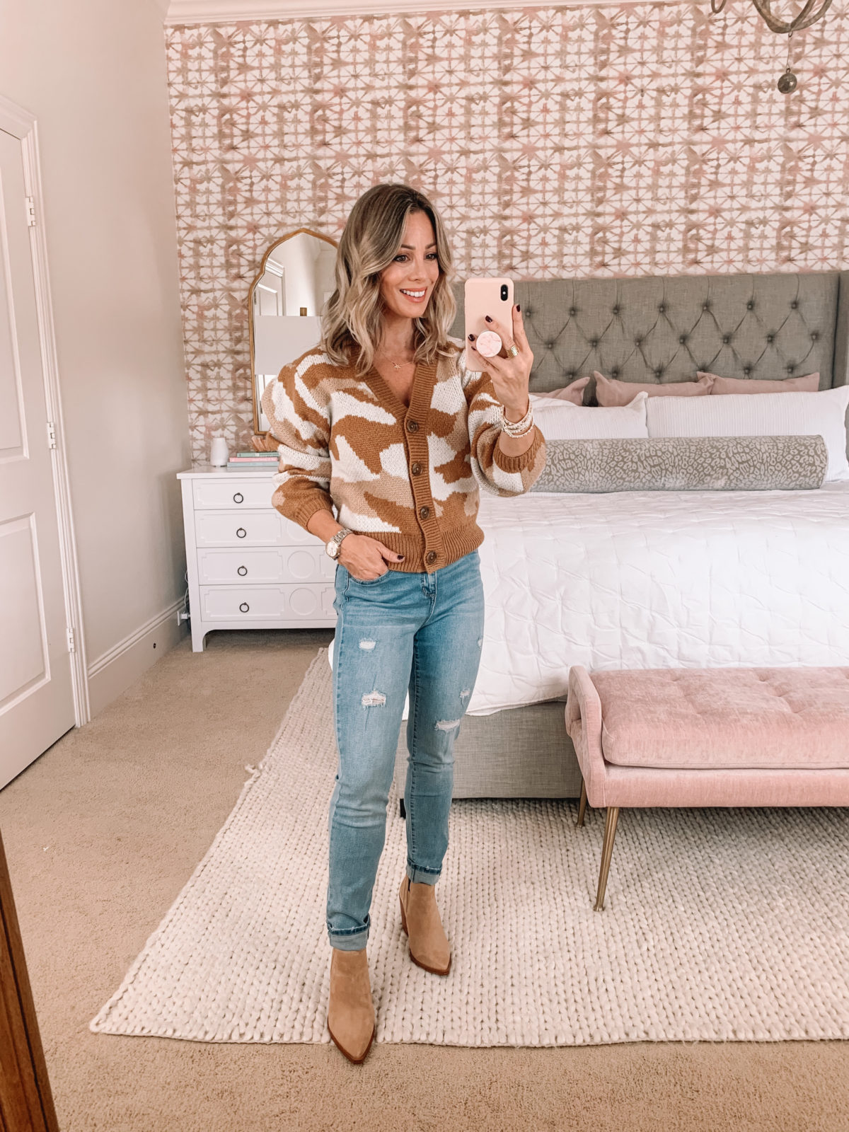 Walmart Fashion, Brown Camo Sweater, Distressed Jeans, Booties