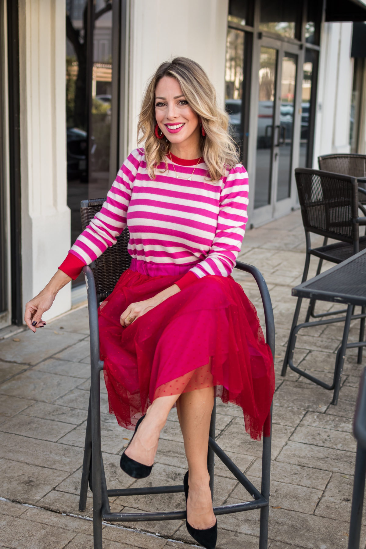 Gibson x Hi Sugarplum tulle skirt and striped sweater