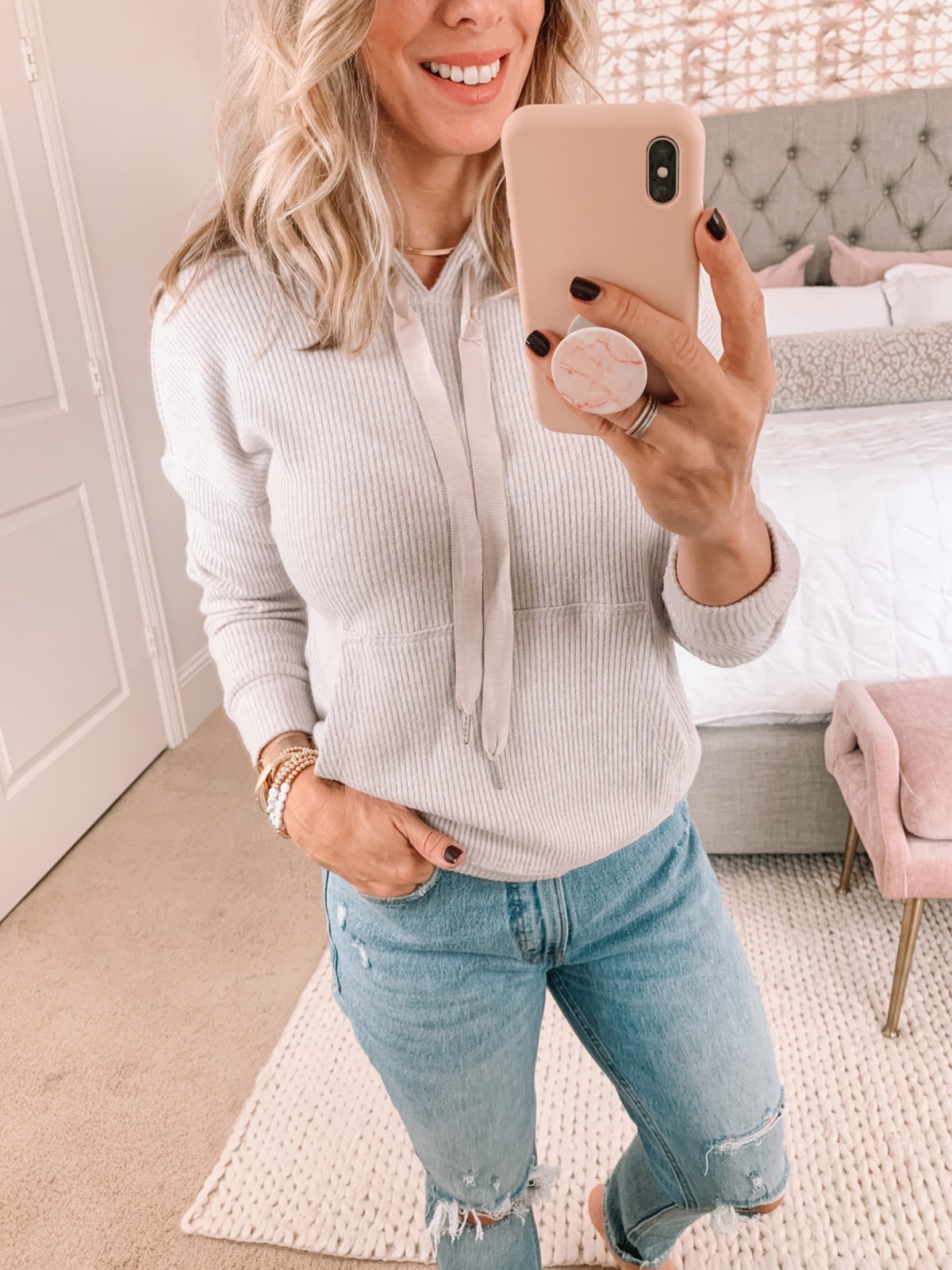 Dressing Room Finds Nordstrom, Gibson, Ribbed Pullover, Distressed Jeans