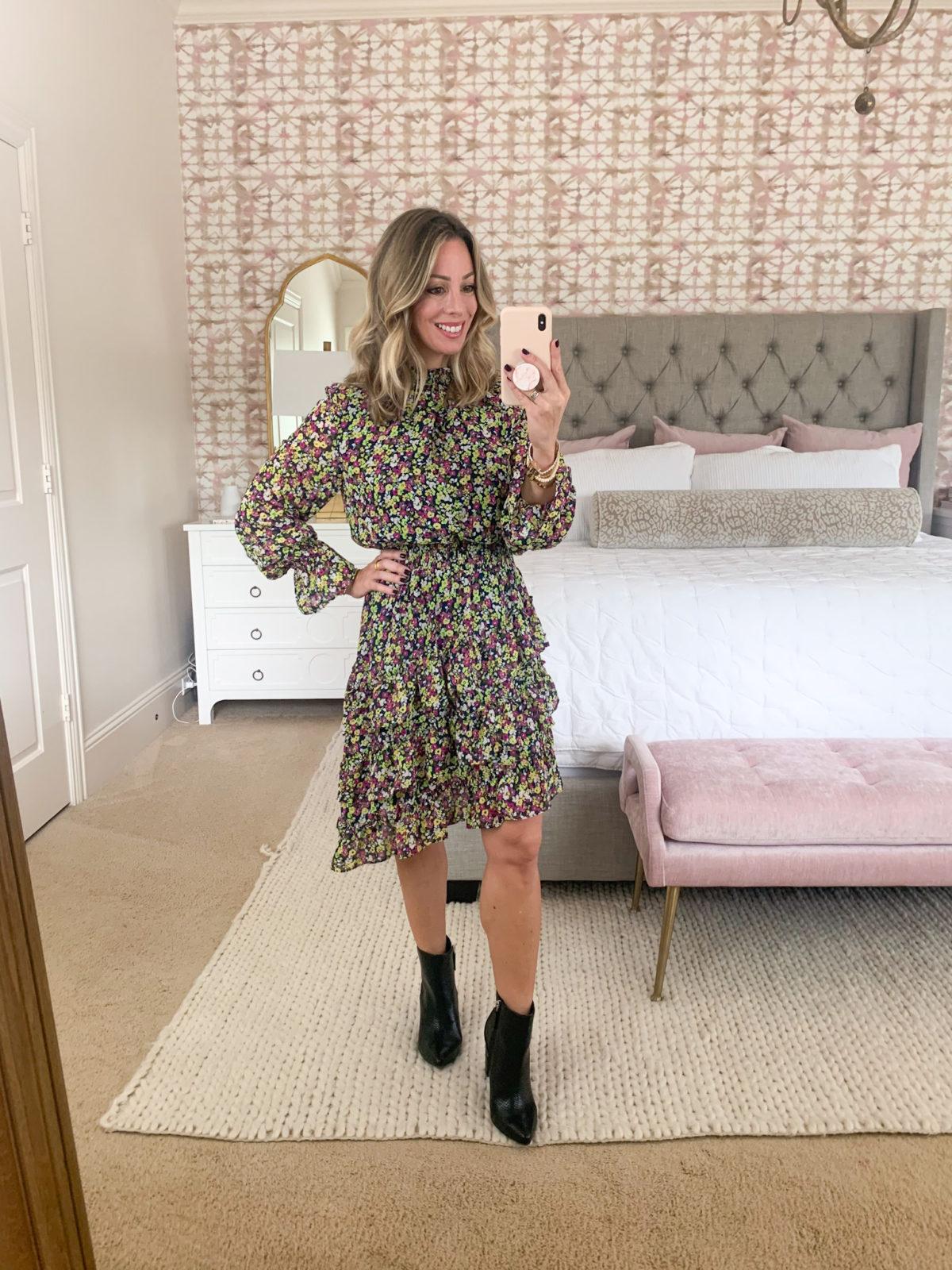 Walmart Fashion, Floral Slant Hemline MIdi Dress, Booties
