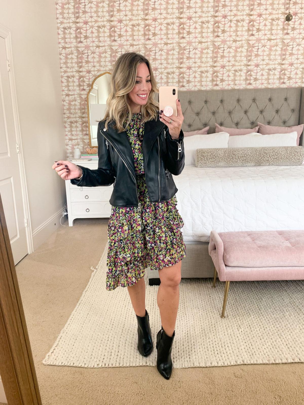 Walmart Fashion, Moto Jacket, Floral Midi Length Dress, Booties