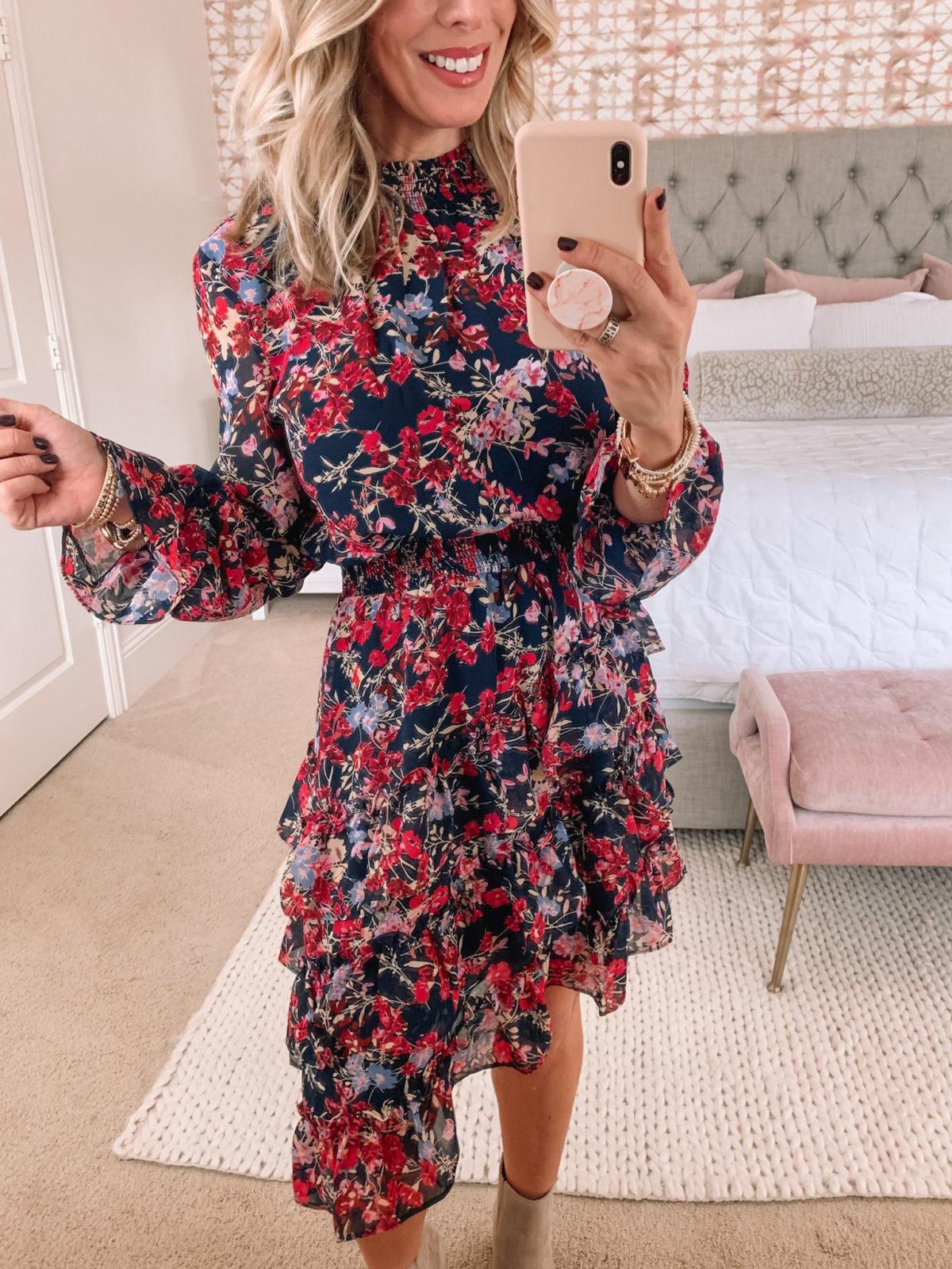 Walmart Fashion, Floral Midi Dress, Booties, Crossbody