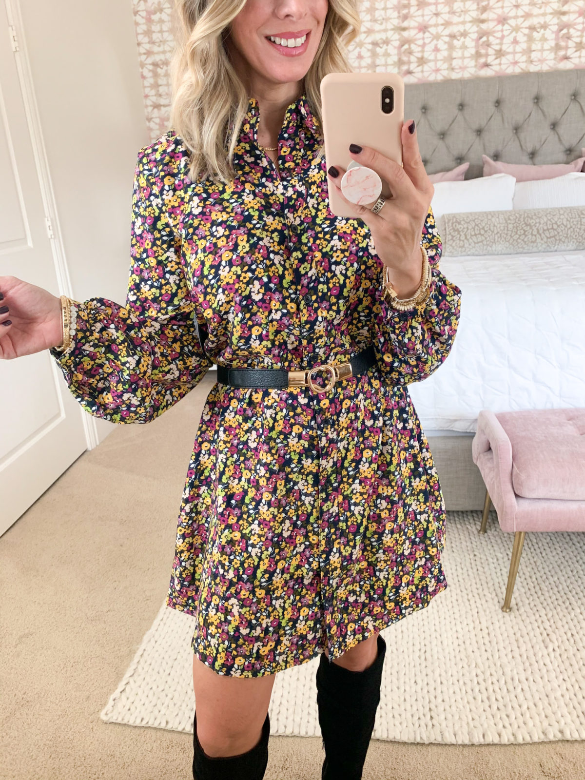 Walmart Fashion, Floral Shift Dress, Belt, Boots