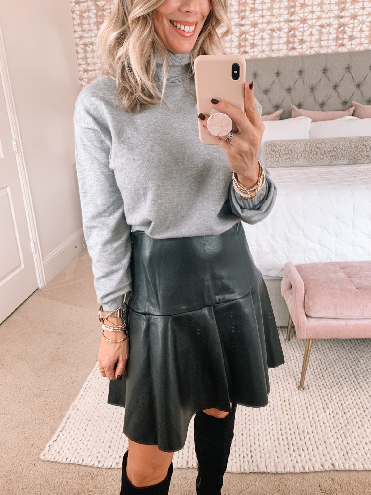 Walmart Fashion, Tunic Turtleneck, Vegan Leather Mini Skirt, Boots