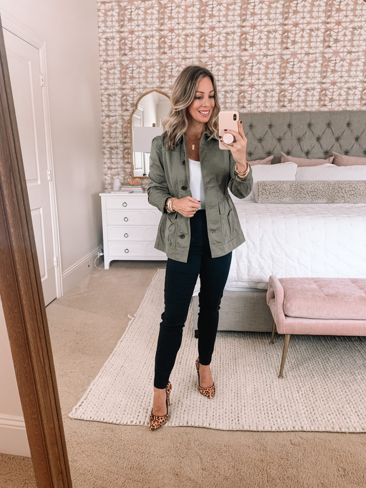 Walmart Fashion, Bodysuit, Utility Jacket, Black Pants, Leopard Heels