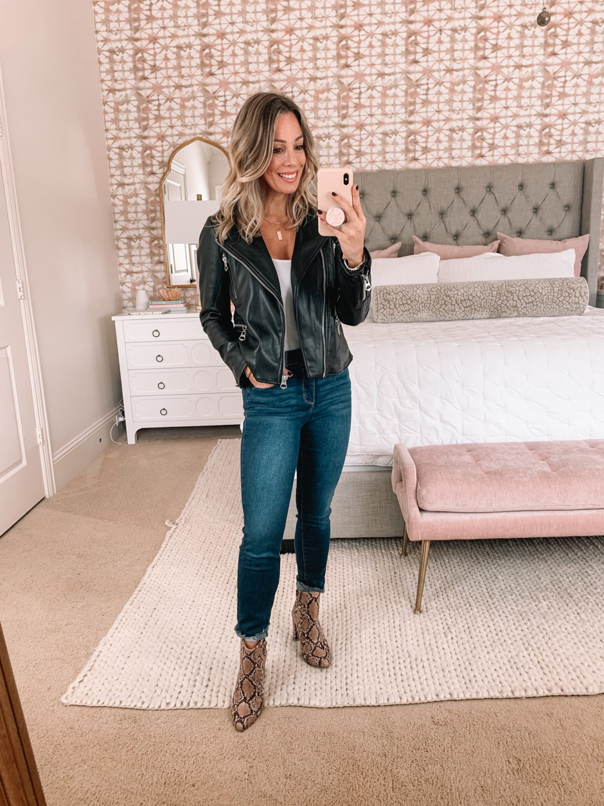 Walmart Fashion, Vegan Leather BIker Jacket, Skinny Jeans, Snakeskin Booties
