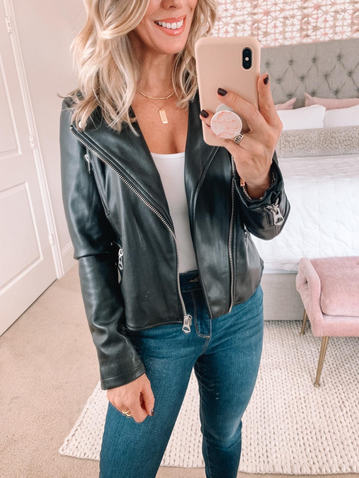 Walmart Fashion, Vegan leather Moto Jacket, SKinny Jeans, Snakeskin Booties
