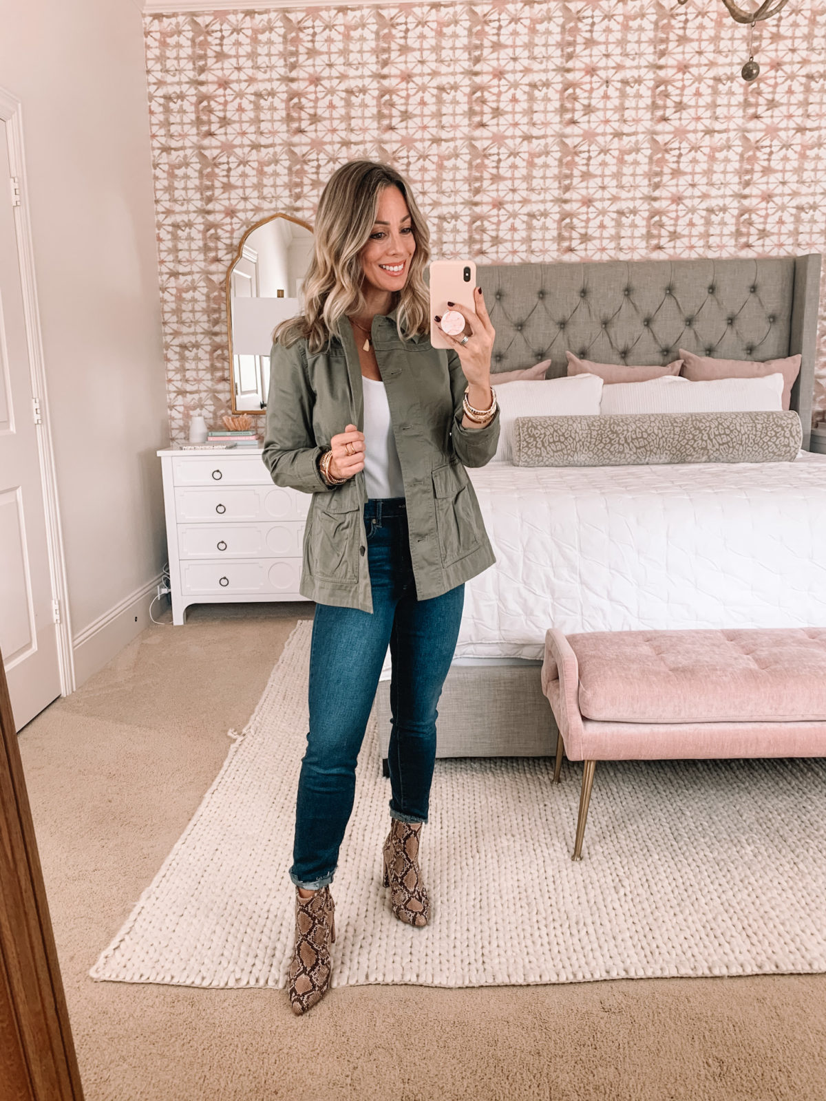 Walmart Fashion, Utility Jacket, Bodysuit, Jeans, Snakeskin Booties