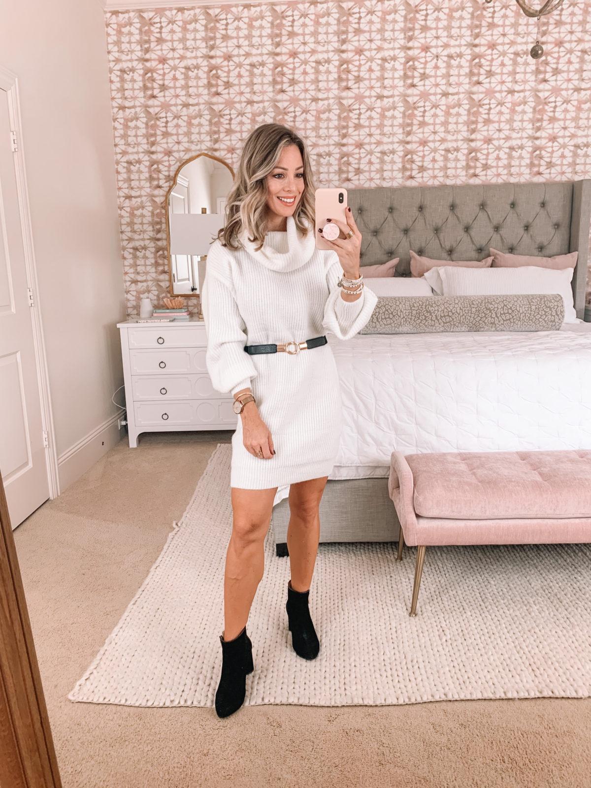 Nordstrom Rack, White Sweater Dress, Booties, Elastic Belt