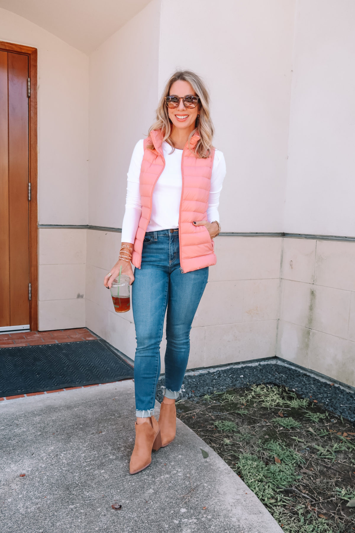Outfits Lately, White Tee, Puff Vest, Jeans, Booties